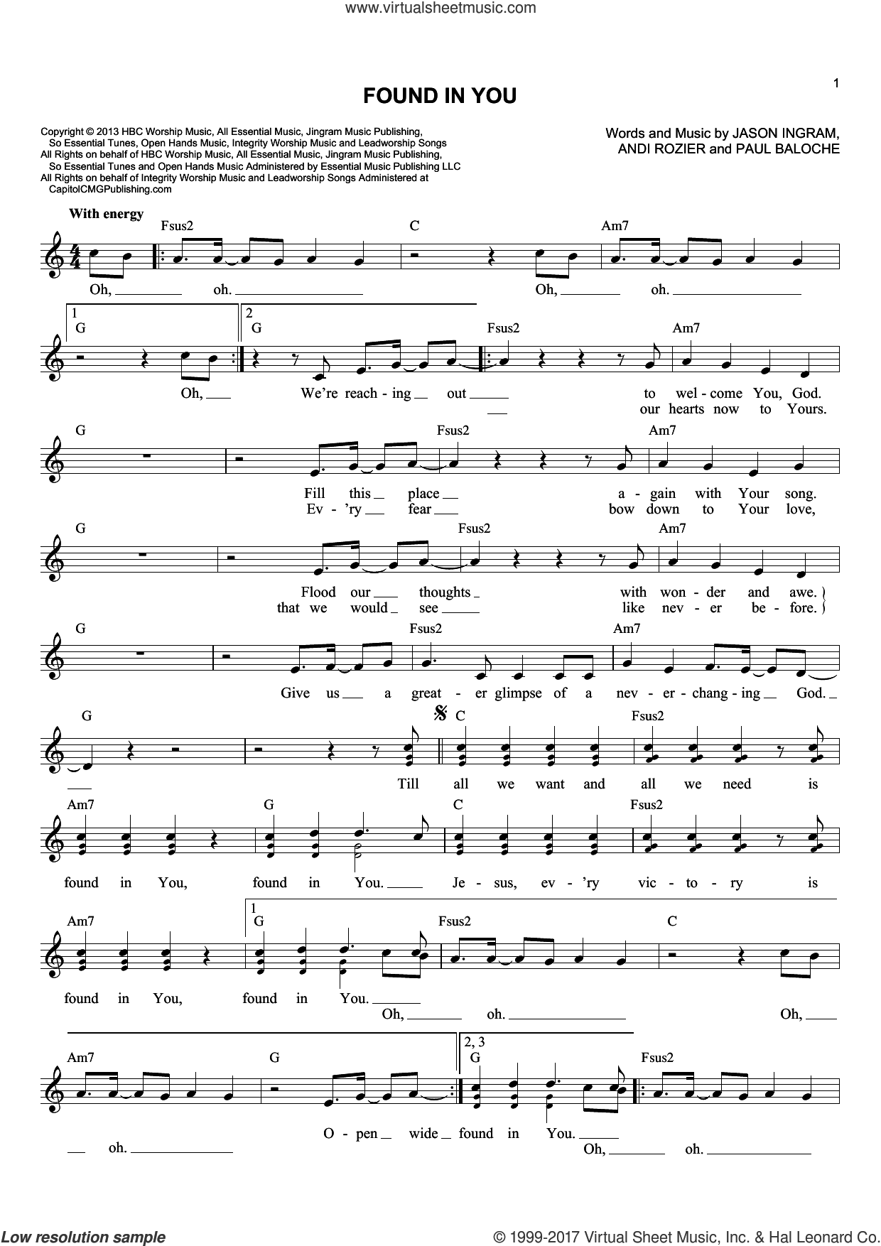 Found In You sheet music for voice and other instruments (fake book) by Paul Baloche, Andi Rozier and Jason Ingram, intermediate skill level
