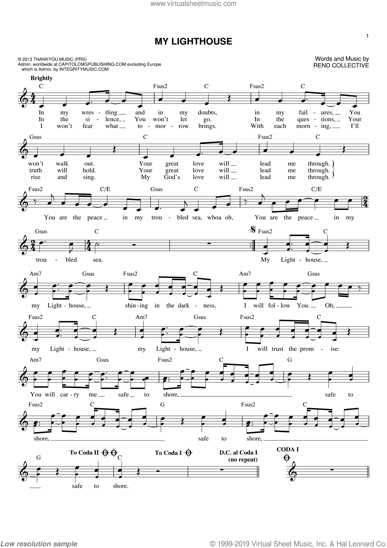 My Lighthouse sheet music for voice and other instruments (fake book) by Rend Collective, intermediate skill level