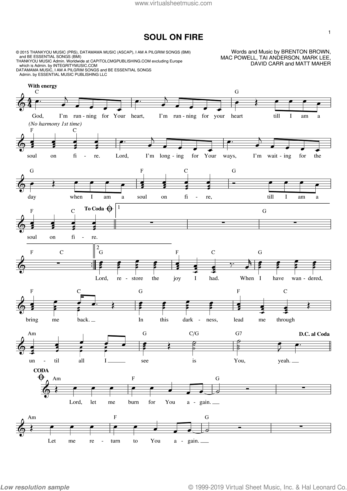 Soul On Fire sheet music for voice and other instruments (fake book) by Third Day, Brenton Brown, David Carr, Mac Powell, Mark Lee, Matt Maher and Tai Anderson, intermediate skill level