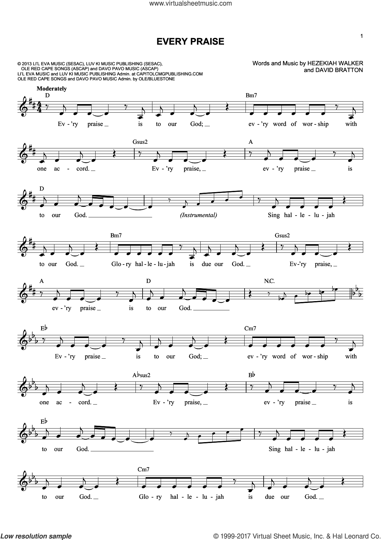 Every Praise sheet music for voice and other instruments (fake book) by David Bratton. Score Image Preview.