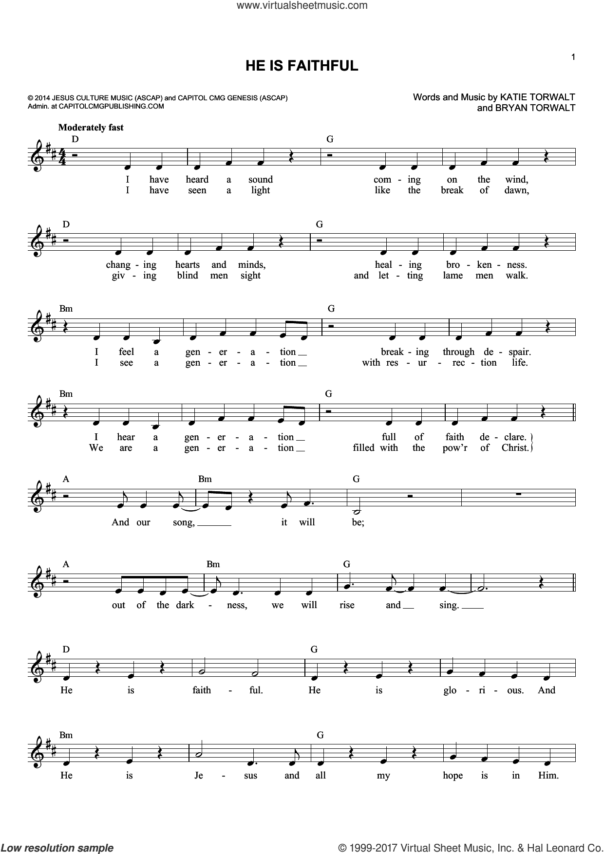 He Is Faithful sheet music for voice and other instruments (fake book) by Bryan Torwalt and Katie Torwalt, intermediate skill level
