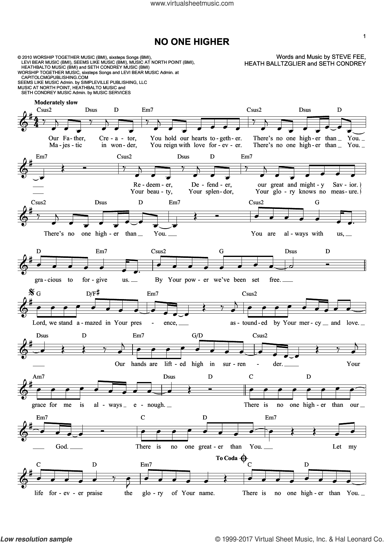 No One Higher sheet music for voice and other instruments (fake book) by Heath Balltzglier, Seth Condrey and Steve Fee, intermediate skill level