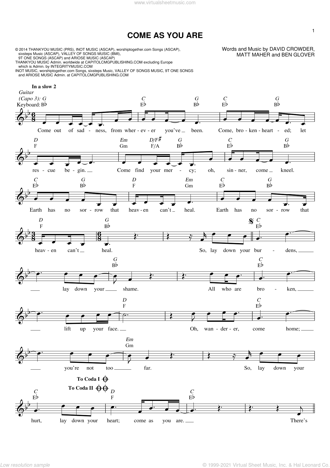 Come As You Are sheet music for voice and other instruments (fake book) by Matt Maher, Crowder, Ben Glover and David Crowder. Score Image Preview.