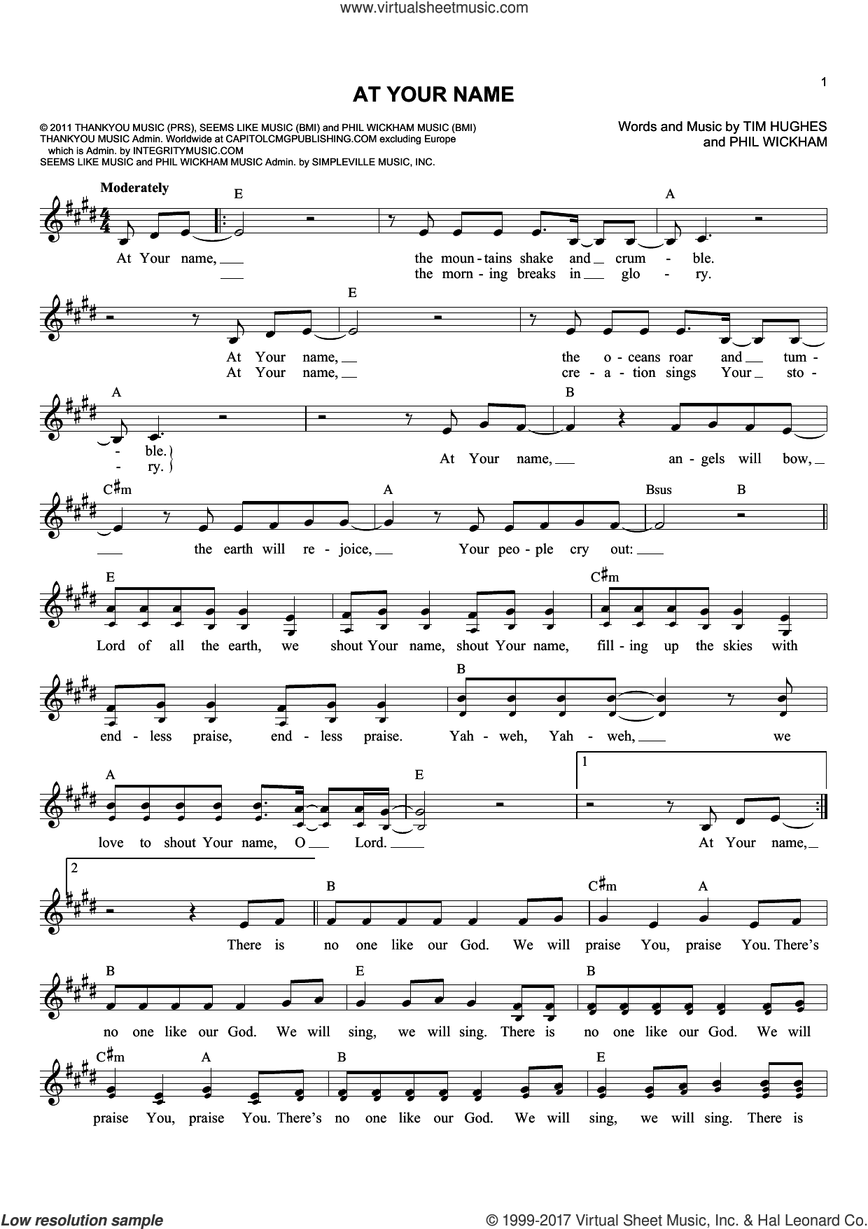 At Your Name sheet music for voice and other instruments (fake book) by Tim Hughes and Phil Wickham, intermediate. Score Image Preview.
