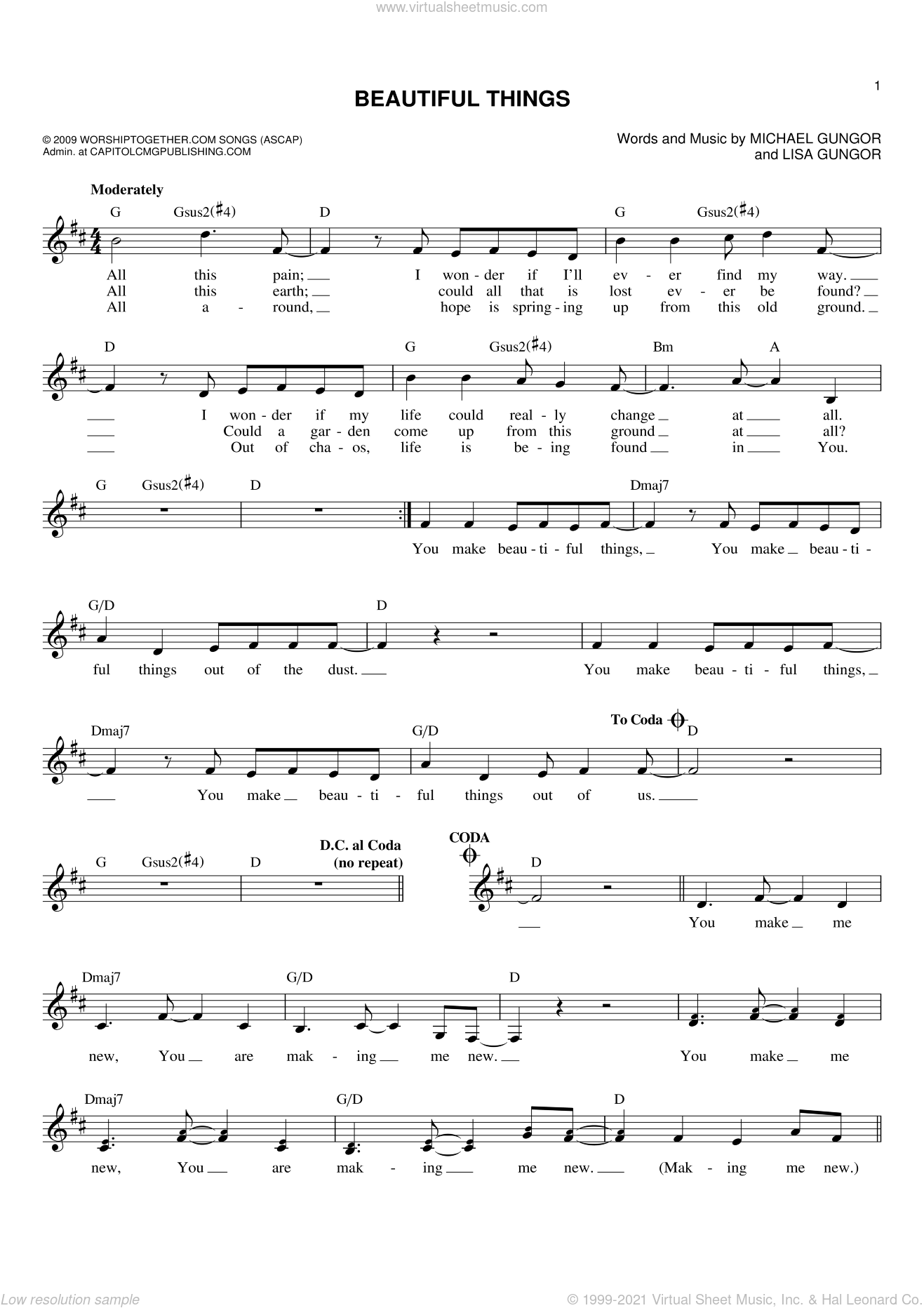Beautiful Things sheet music for voice and other instruments (fake book) by Michael Gungor and Lisa Gungor, intermediate skill level
