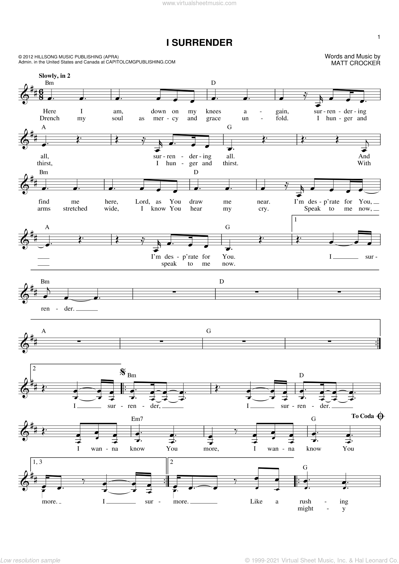 I Surrender sheet music for voice and other instruments (fake book) by Matt Crocker and Hillsong Live. Score Image Preview.