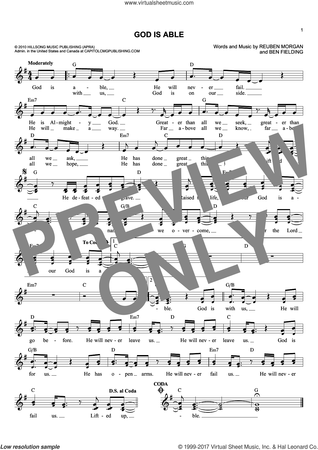 God Is Able sheet music for voice and other instruments (fake book) by Hillsong United, Ben Fielding and Reuben Morgan, intermediate skill level