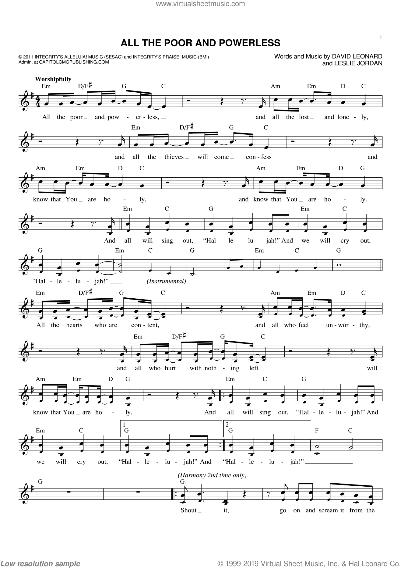 All The Poor And Powerless sheet music for voice and other instruments (fake book) by Leslie Jordan, intermediate voice. Score Image Preview.