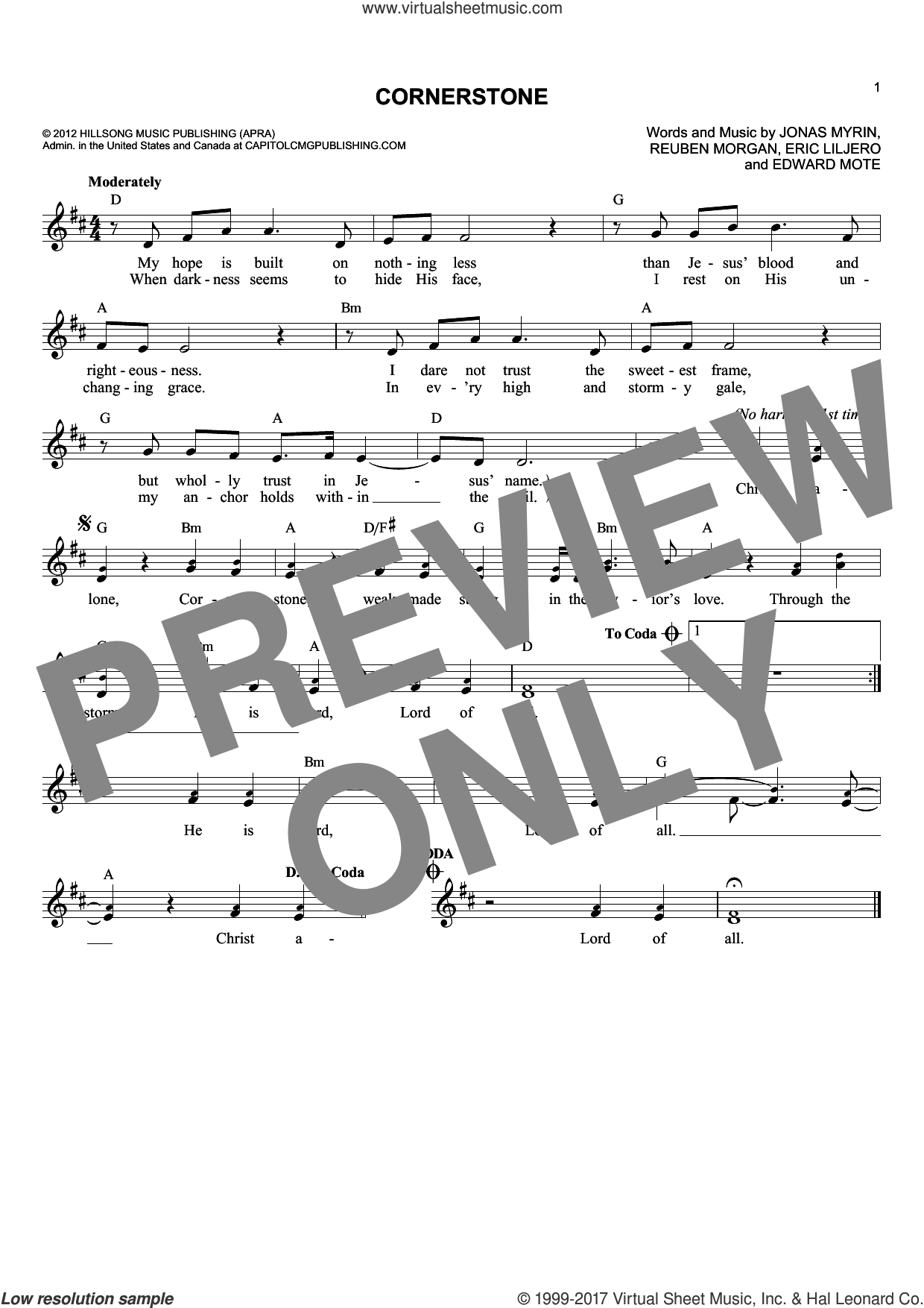 Cornerstone sheet music for voice and other instruments (fake book) by Hillsong Live, Jonas Myrin and Reuben Morgan. Score Image Preview.