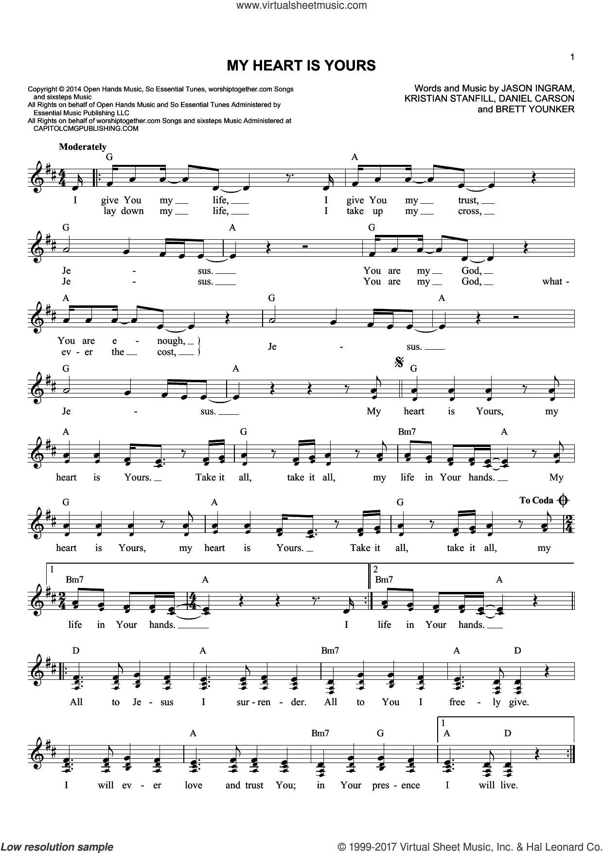 My Heart Is Yours sheet music for voice and other instruments (fake book) by Brett Younker, Daniel Carson, Jason Ingram and Kristian Stanfill, intermediate