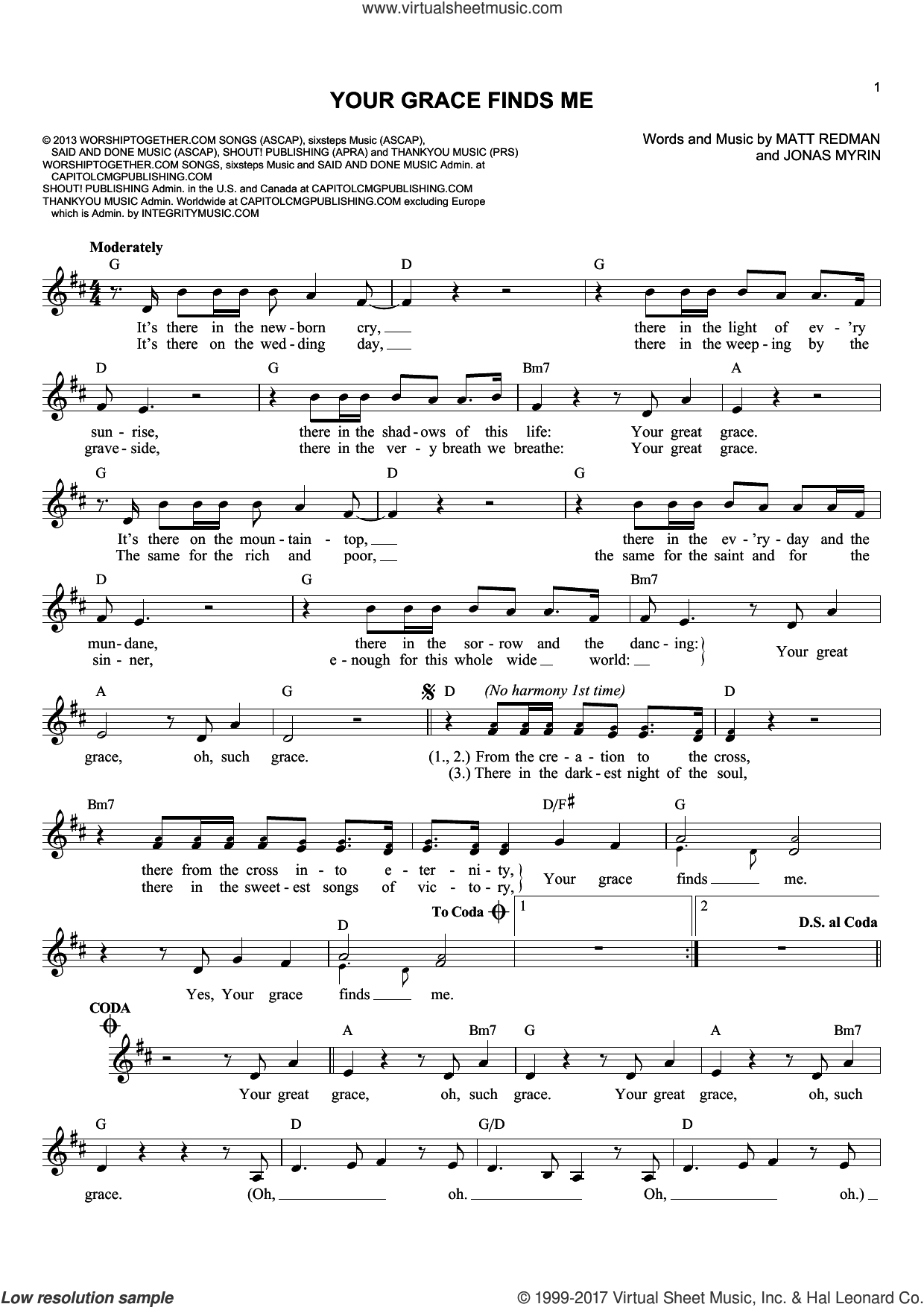 Your Grace Finds Me sheet music for voice and other instruments (fake book) by Jonas Myrin and Matt Redman, intermediate voice. Score Image Preview.