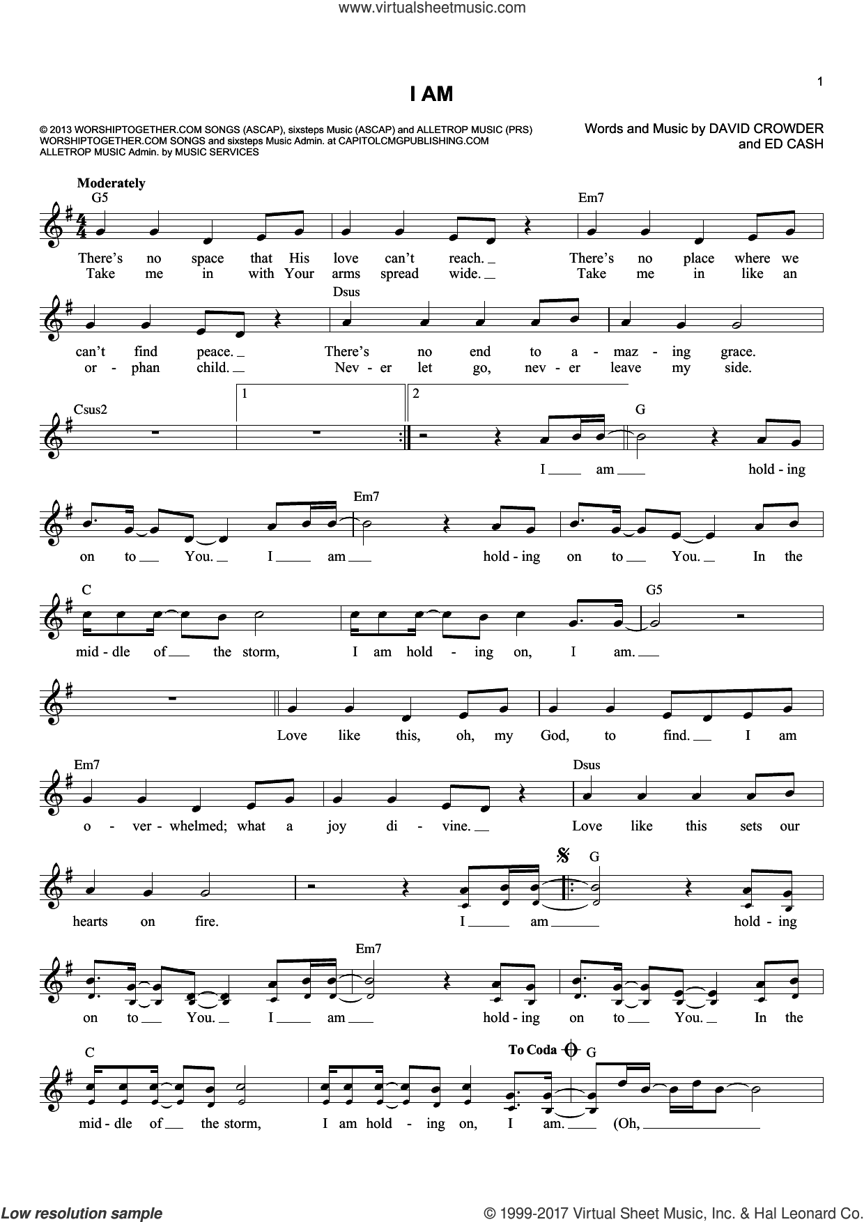 I Am sheet music for voice and other instruments (fake book) by Ed Cash and David Crowder. Score Image Preview.