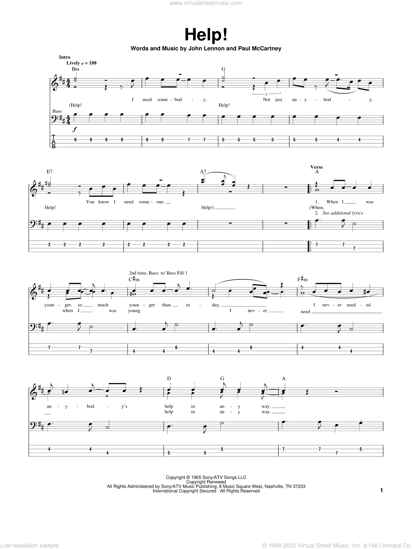 Help! sheet music for bass (tablature) (bass guitar) by The Beatles, John Lennon and Paul McCartney. Score Image Preview.
