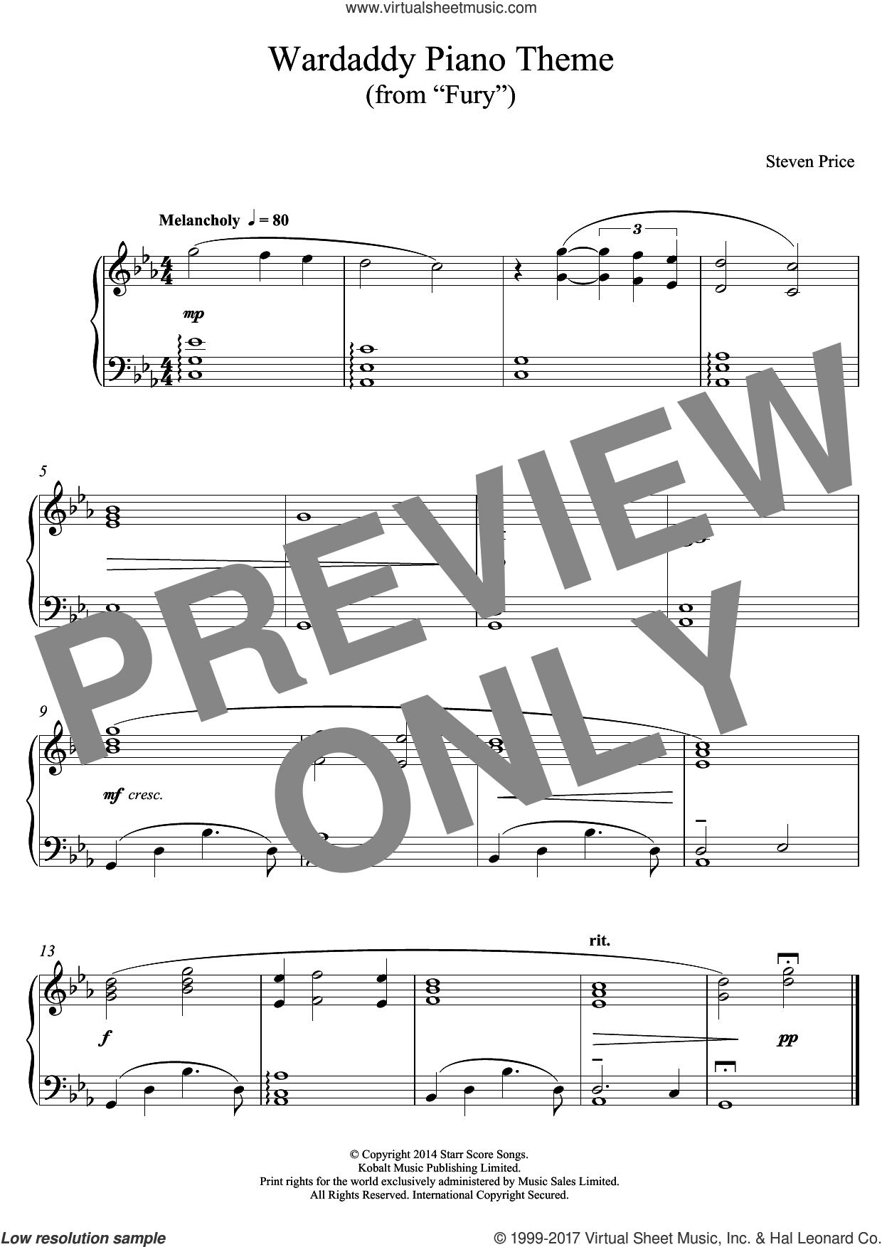 Wardaddy Piano Theme (from Fury) sheet music for piano solo by Steven Price, intermediate skill level
