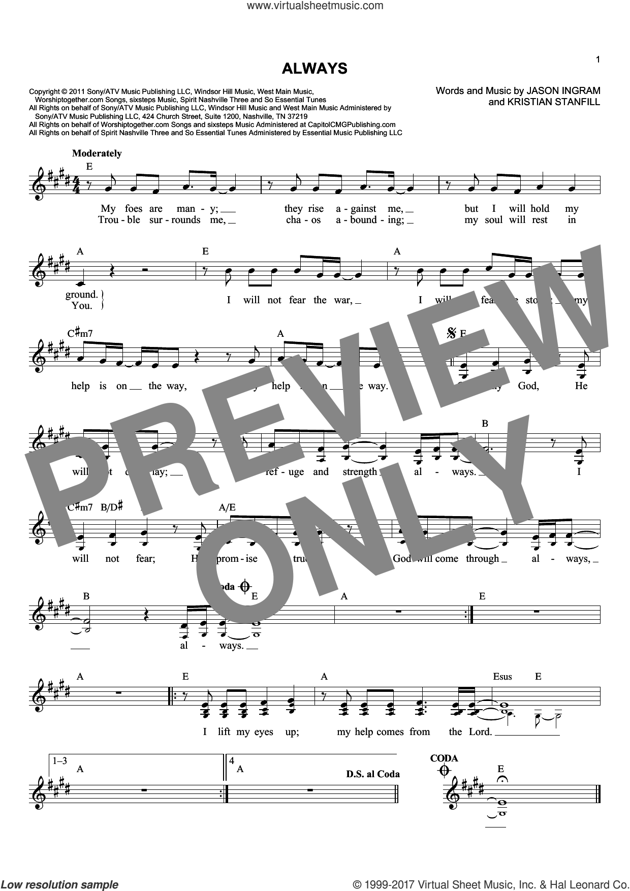 Always sheet music for voice and other instruments (fake book) by Passion, Jason Ingram and Kristian Stanfill, intermediate skill level