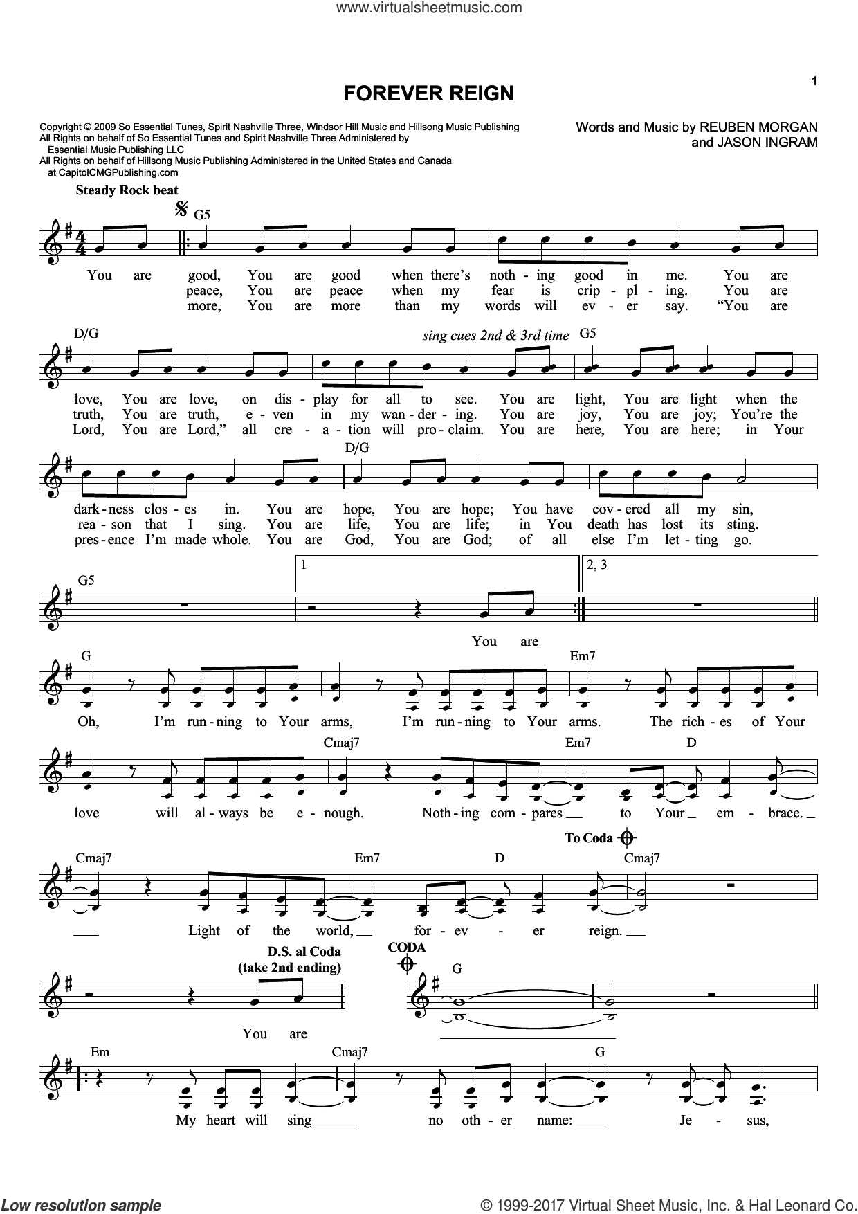 Forever Reign sheet music for voice and other instruments (fake book) by Jason Ingram and Reuben Morgan, intermediate skill level