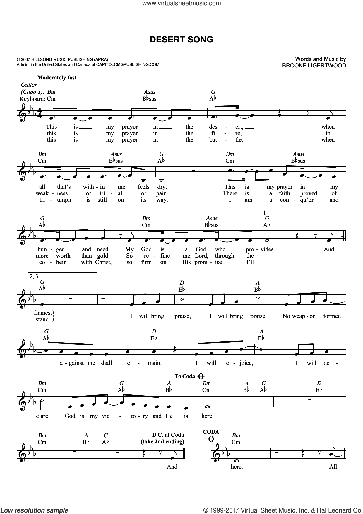 Desert Song sheet music for voice and other instruments (fake book) by Brooke Ligertwood and Hillsong Worship, intermediate skill level
