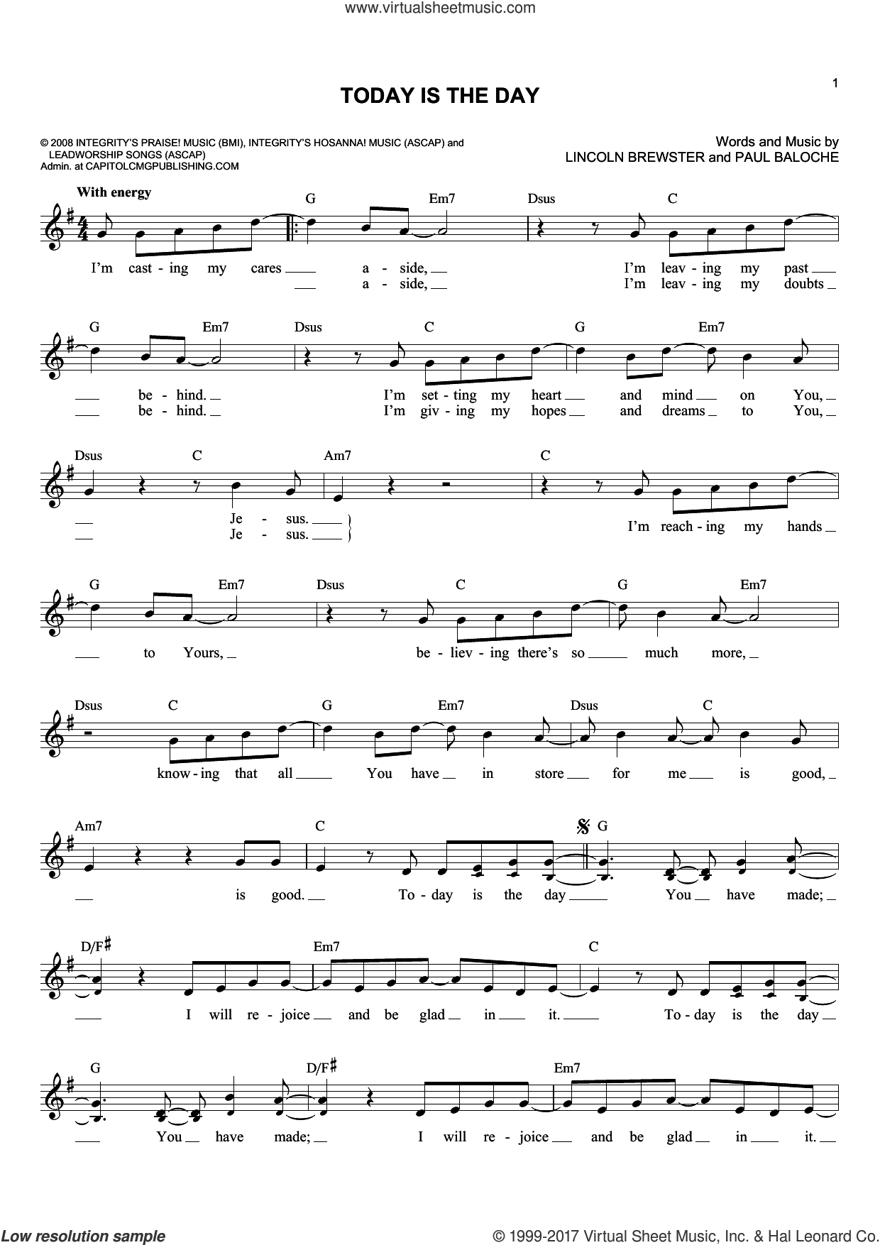 Today Is The Day sheet music for voice and other instruments (fake book) by Lincoln Brewster and Paul Baloche, intermediate skill level