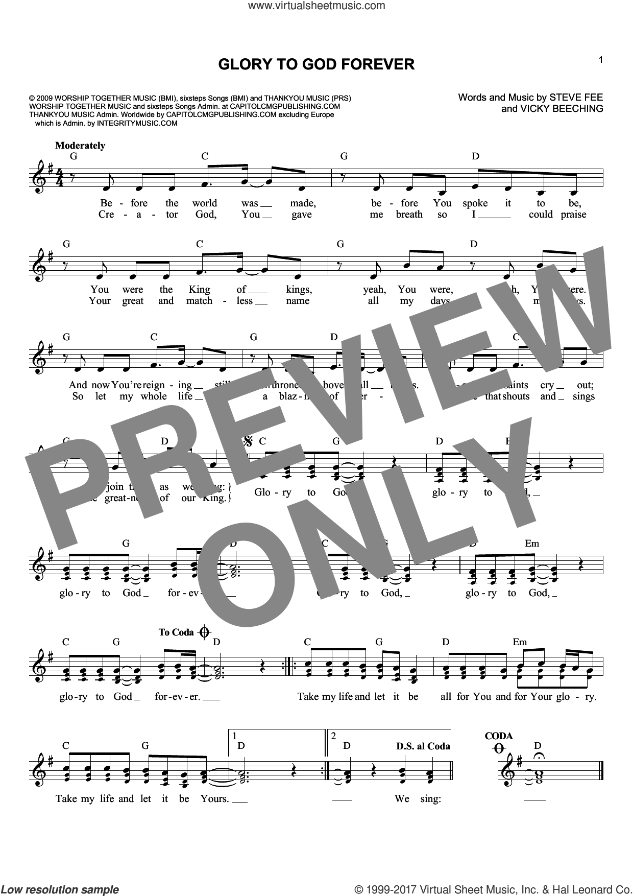 Glory To God Forever sheet music for voice and other instruments (fake book) by Vicky Beeching and Steve Fee, intermediate skill level
