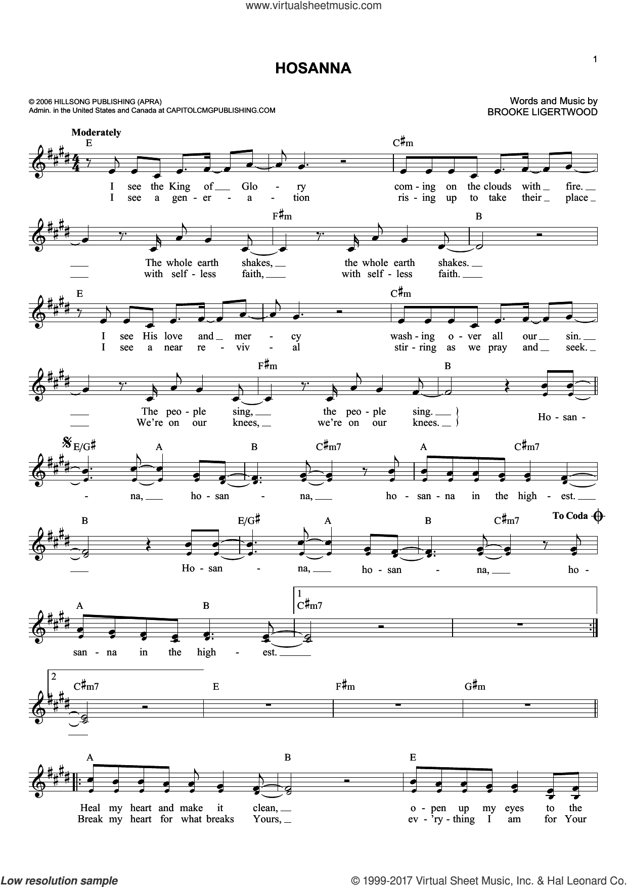 Hosanna sheet music for voice and other instruments (fake book) by Brooke Ligertwood and Hillsong United, intermediate skill level
