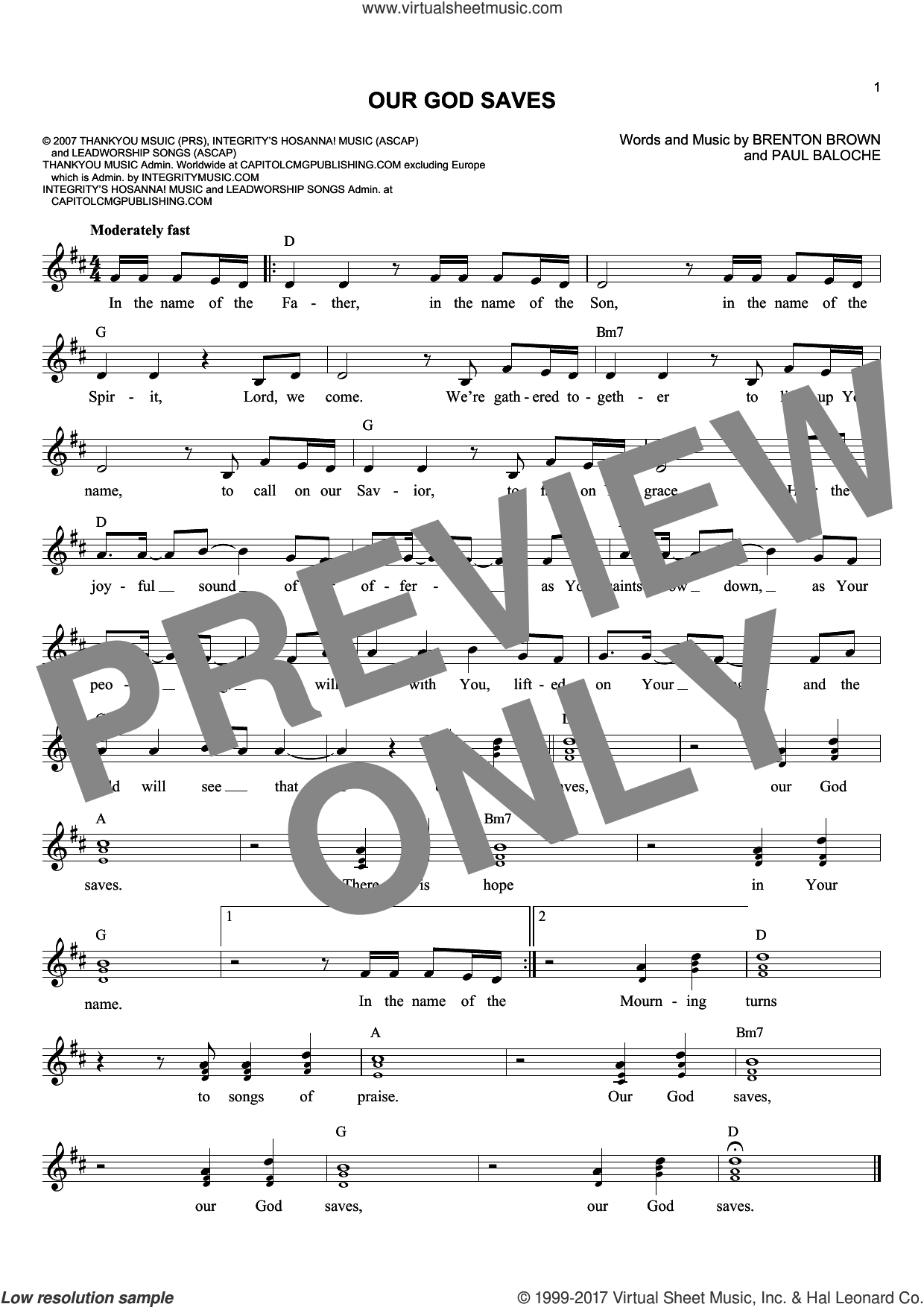 Our God Saves sheet music for voice and other instruments (fake book) by Paul Baloche and Brenton Brown, intermediate. Score Image Preview.