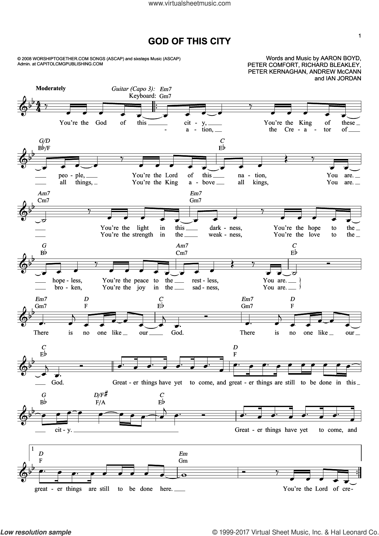 God Of This City sheet music for voice and other instruments (fake book) by Chris Tomlin, Aaron Boyd, Andrew McCann, Ian Jordan, Peter Comfort, Peter Kernaghan and Richard Bleakley, intermediate