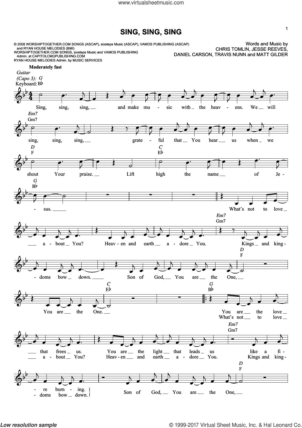 Sing Sing Sing sheet music for voice and other instruments (fake book) by Chris Tomlin, Daniel Carson, Jesse Reeves, Matt Gilder and Travis Nunn, intermediate skill level