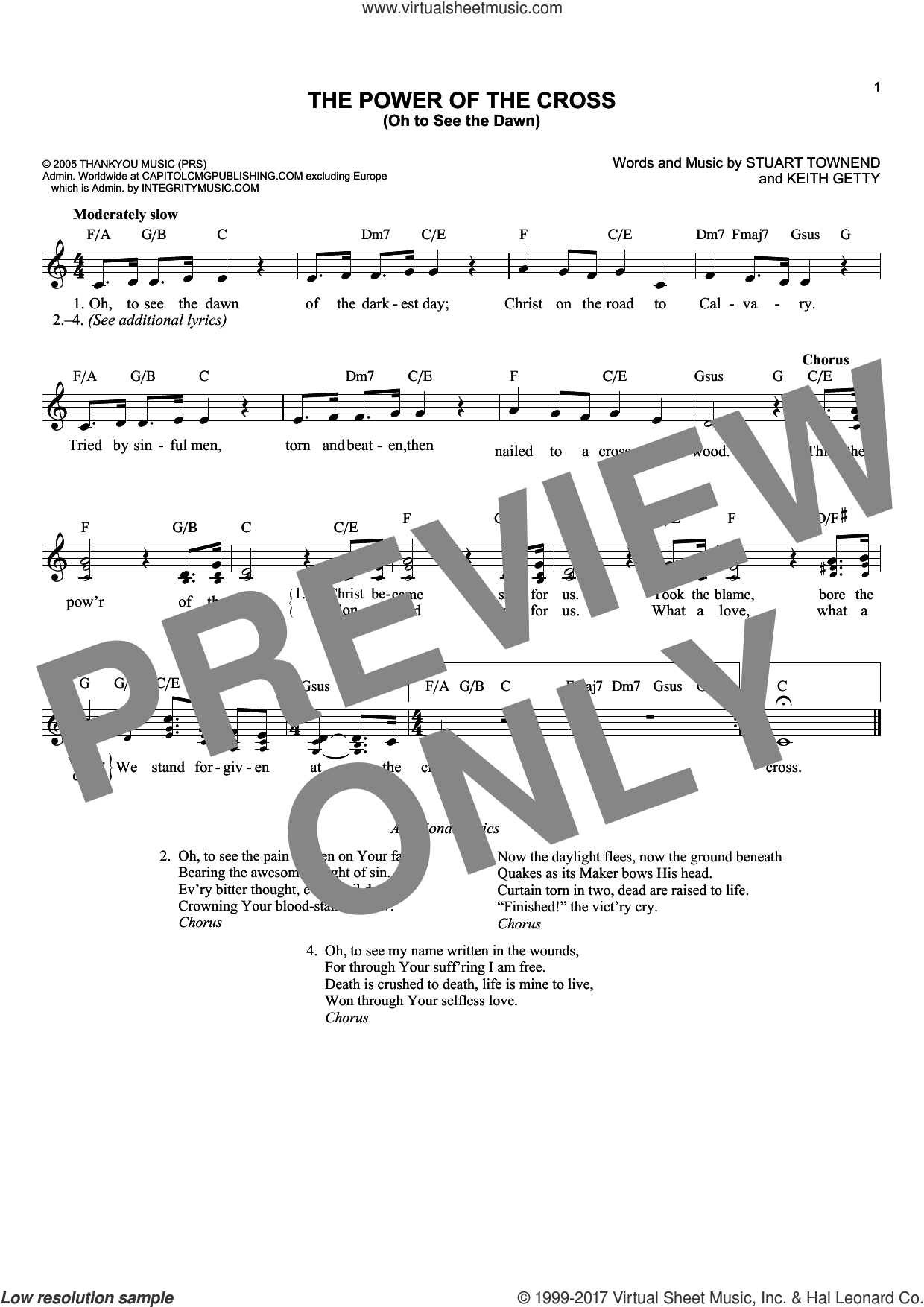 The Power Of The Cross (Oh To See The Dawn) sheet music for voice and other instruments (fake book) by Keith Getty and Stuart Townend, intermediate skill level