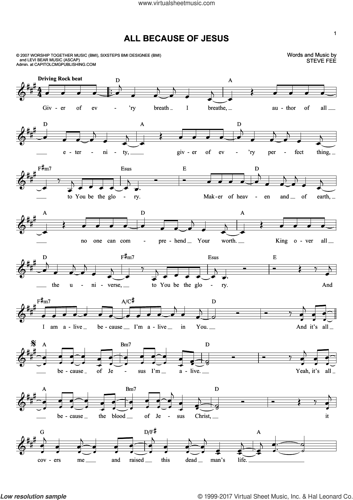All Because Of Jesus sheet music for voice and other instruments (fake book) by Casting Crowns and Steve Fee, intermediate skill level