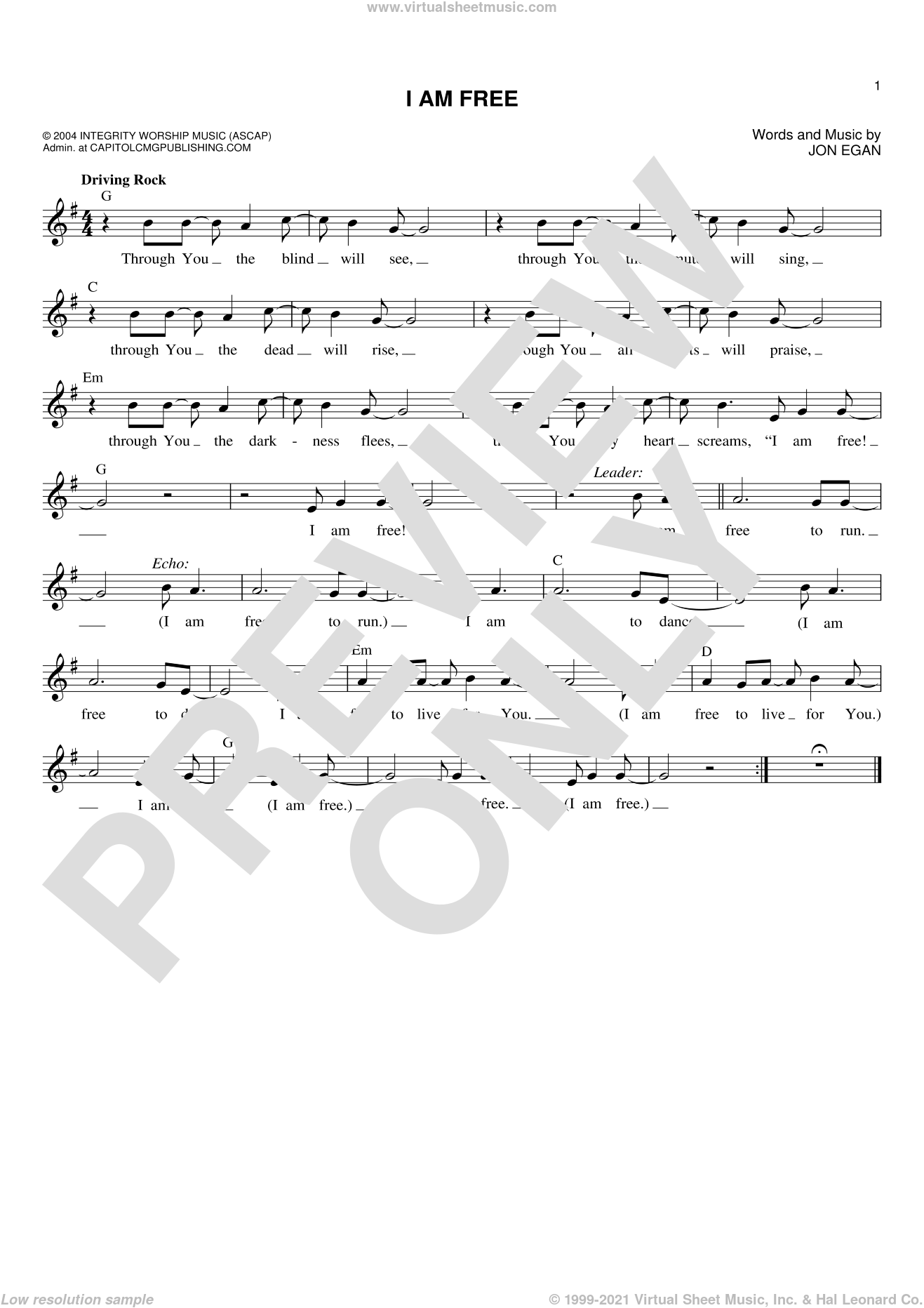 I Am Free sheet music for voice and other instruments (fake book) by Jon Egan, intermediate skill level