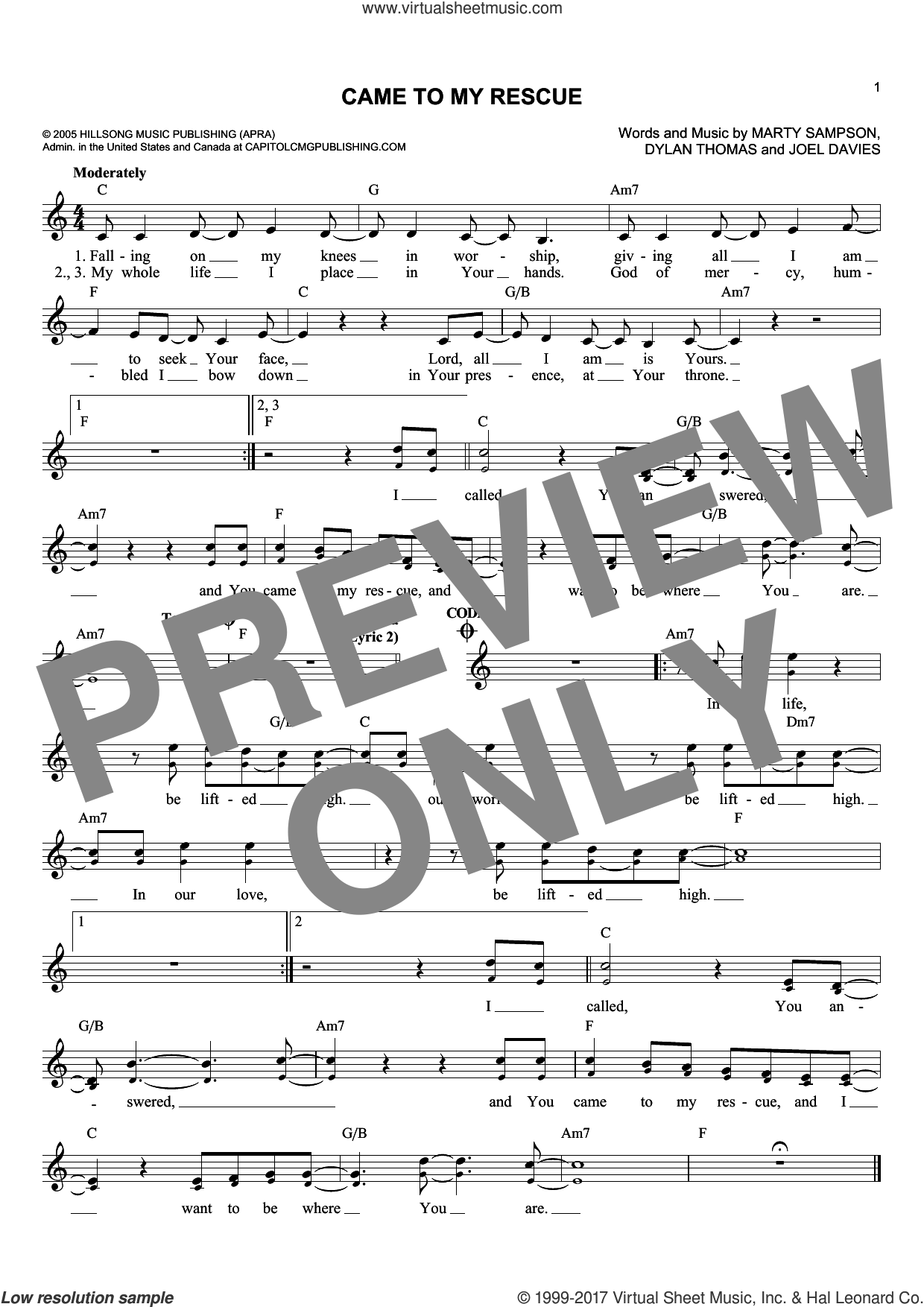 Came To My Rescue sheet music for voice and other instruments (fake book) by Marty Sampson, Dylan Thomas and Joel Davies, intermediate voice. Score Image Preview.