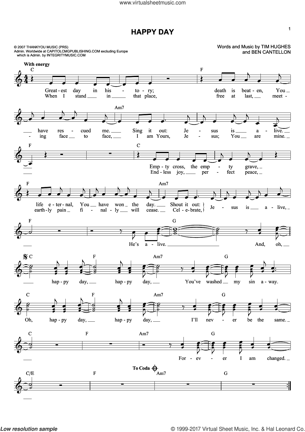 Happy Day sheet music for voice and other instruments (fake book) by Ben Cantellon and Tim Hughes. Score Image Preview.