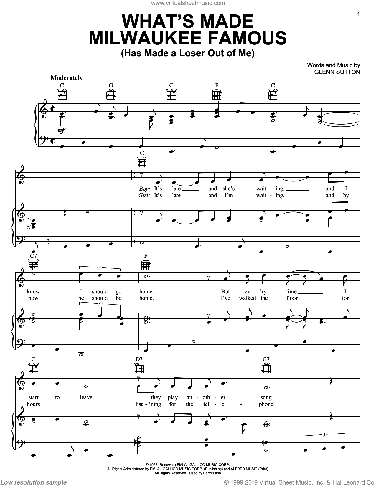 What's Made Milwaukee Famous (Has Made A Loser Out Of Me) sheet music for voice, piano or guitar by Glenn Sutton