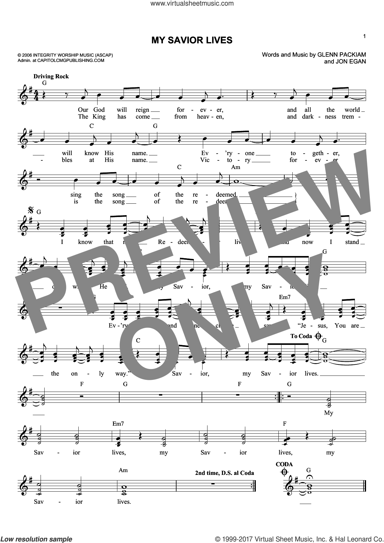 My Savior Lives sheet music for voice and other instruments (fake book) by Glenn Packiam and Jon Egan, intermediate skill level