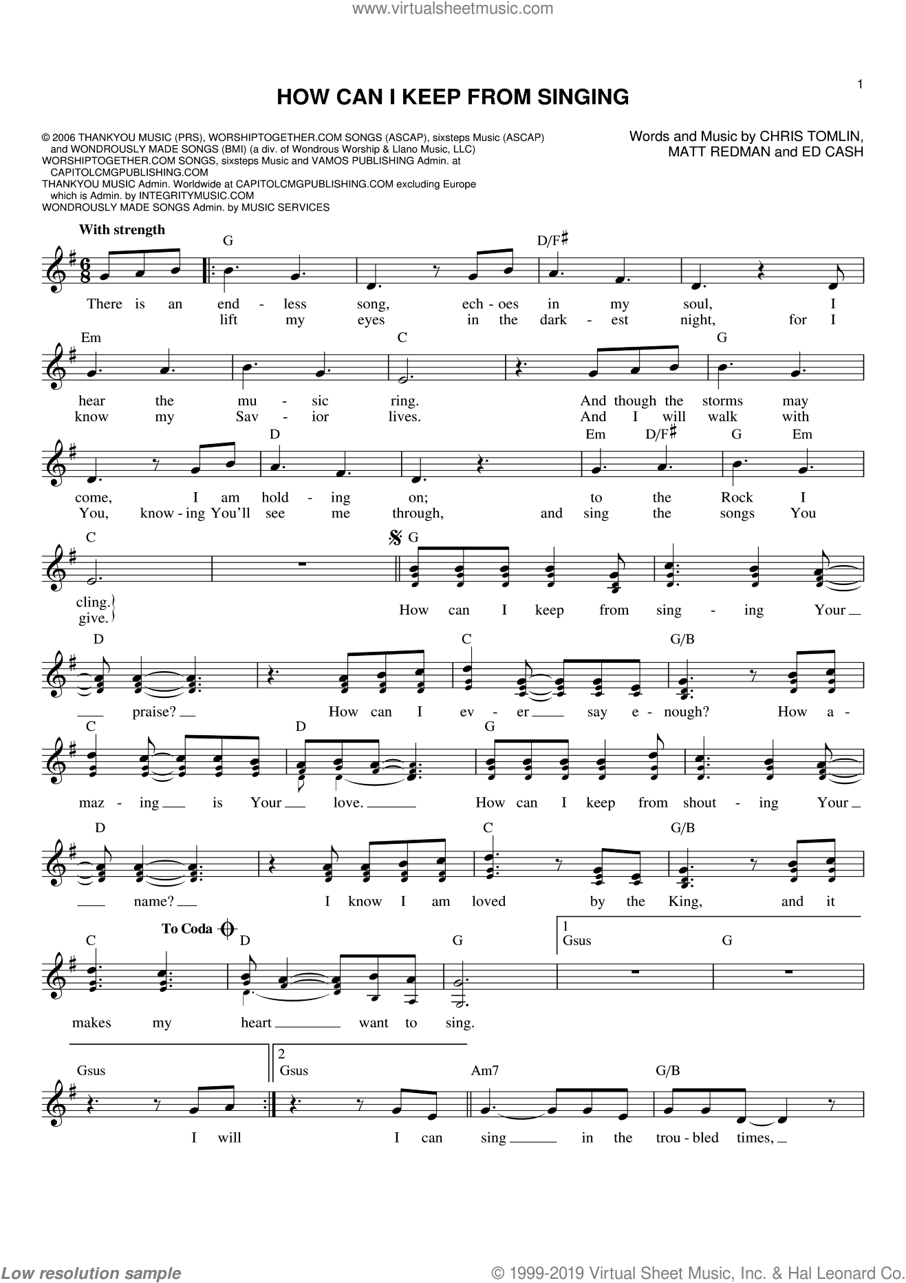 How Can I Keep From Singing sheet music for voice and other instruments (fake book) by Chris Tomlin, Ed Cash and Matt Redman, intermediate skill level
