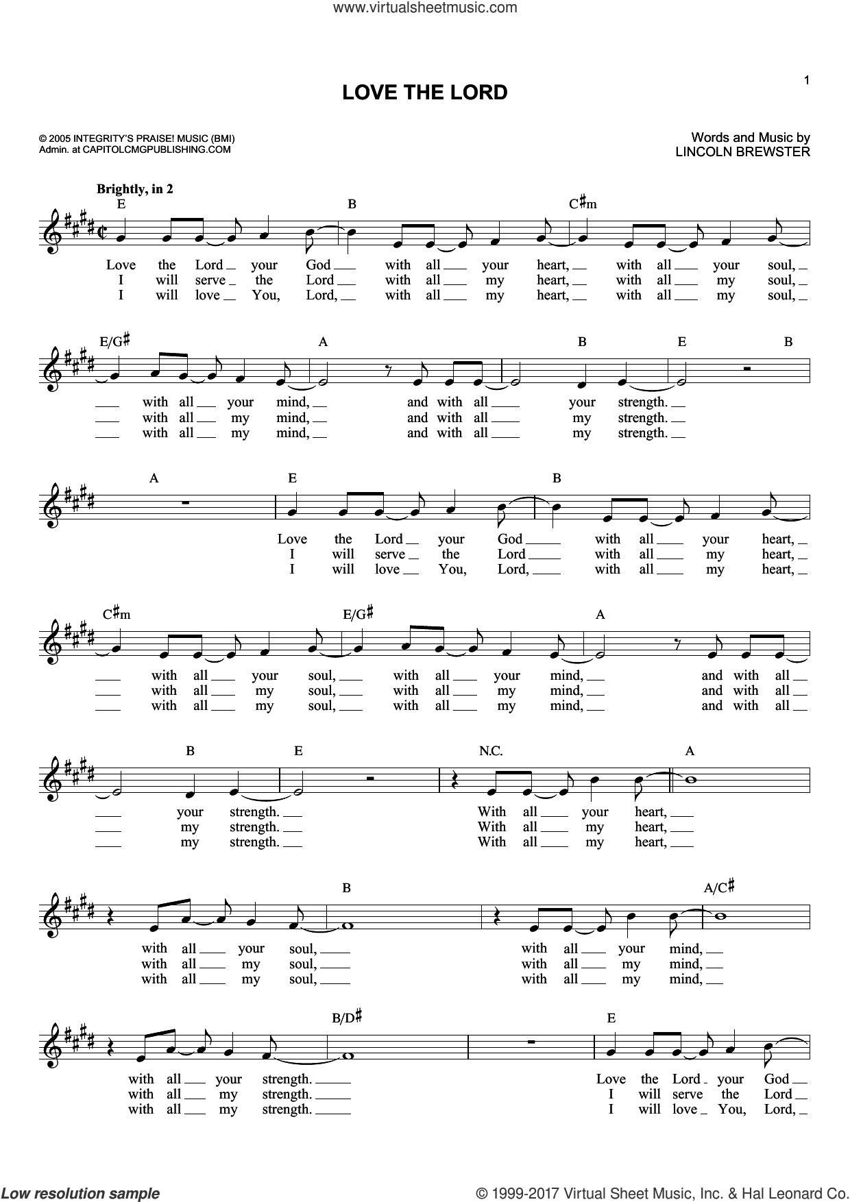 Love The Lord sheet music for voice and other instruments (fake book) by Lincoln Brewster. Score Image Preview.