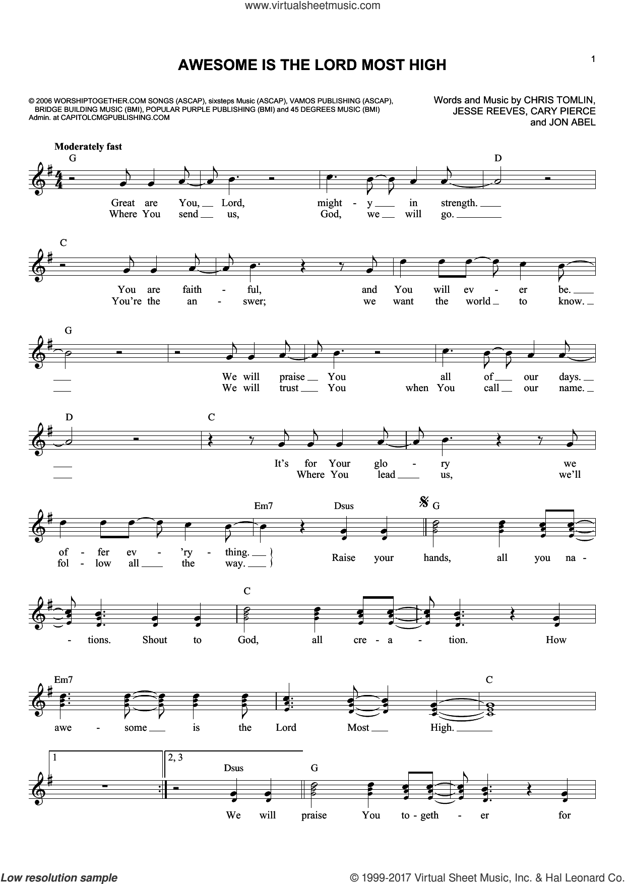 Awesome Is The Lord Most High sheet music for voice and other instruments (fake book) by Brenton Brown, Cary Pierce, Chris Tomlin, Jesse Reeves and Jon Abel, intermediate. Score Image Preview.