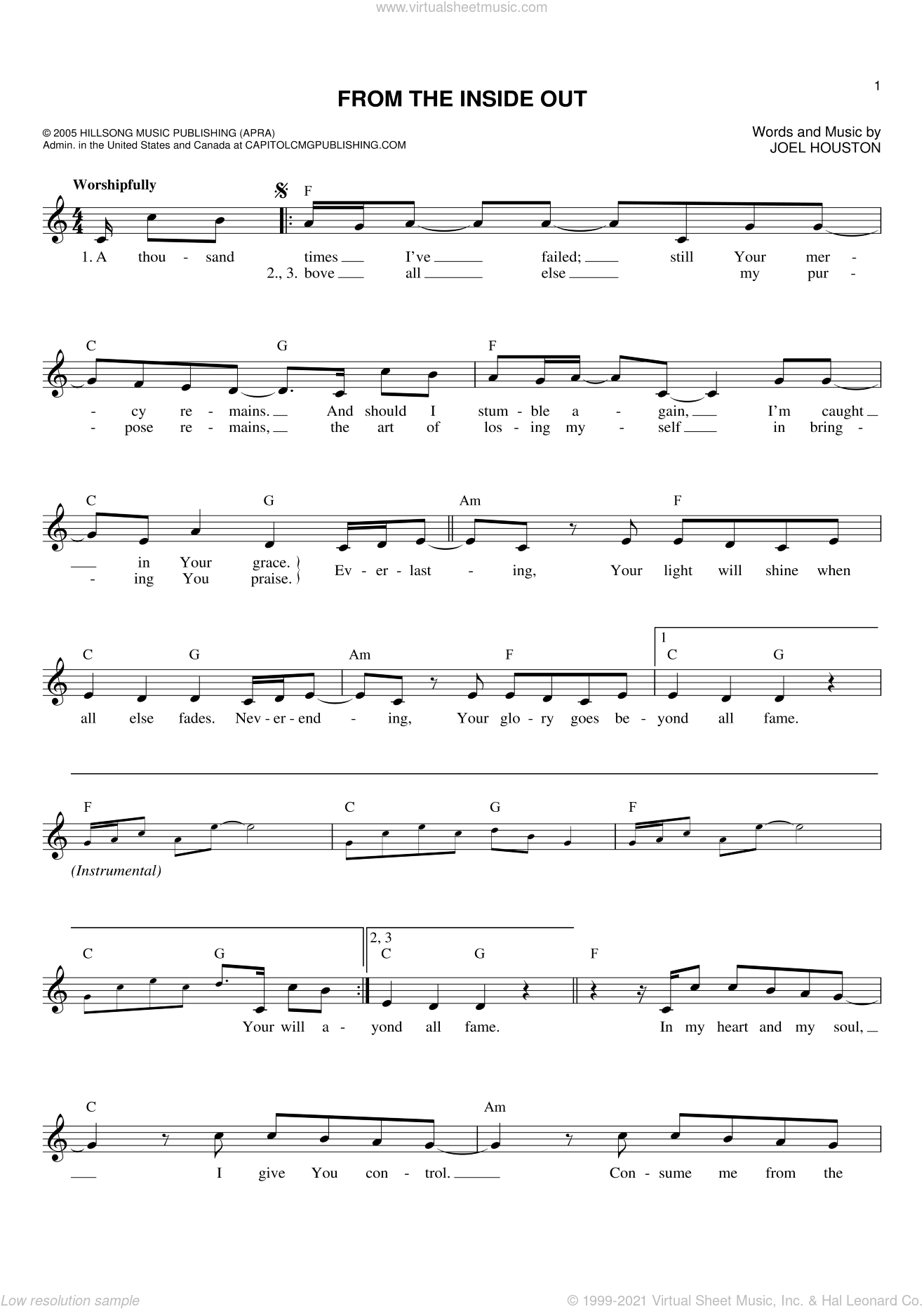 From The Inside Out sheet music for voice and other instruments (fake book) by Joel Houston, intermediate. Score Image Preview.