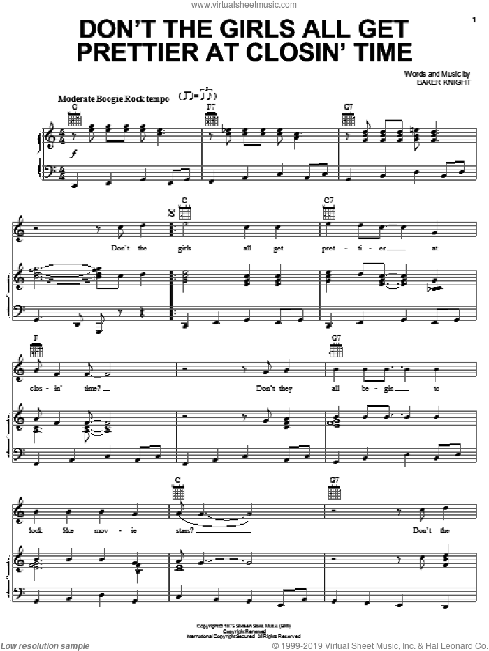 Don't The Girls All Get Prettier At Closin' Time sheet music for voice, piano or guitar by Mickey Gilley and Baker Knight, intermediate skill level