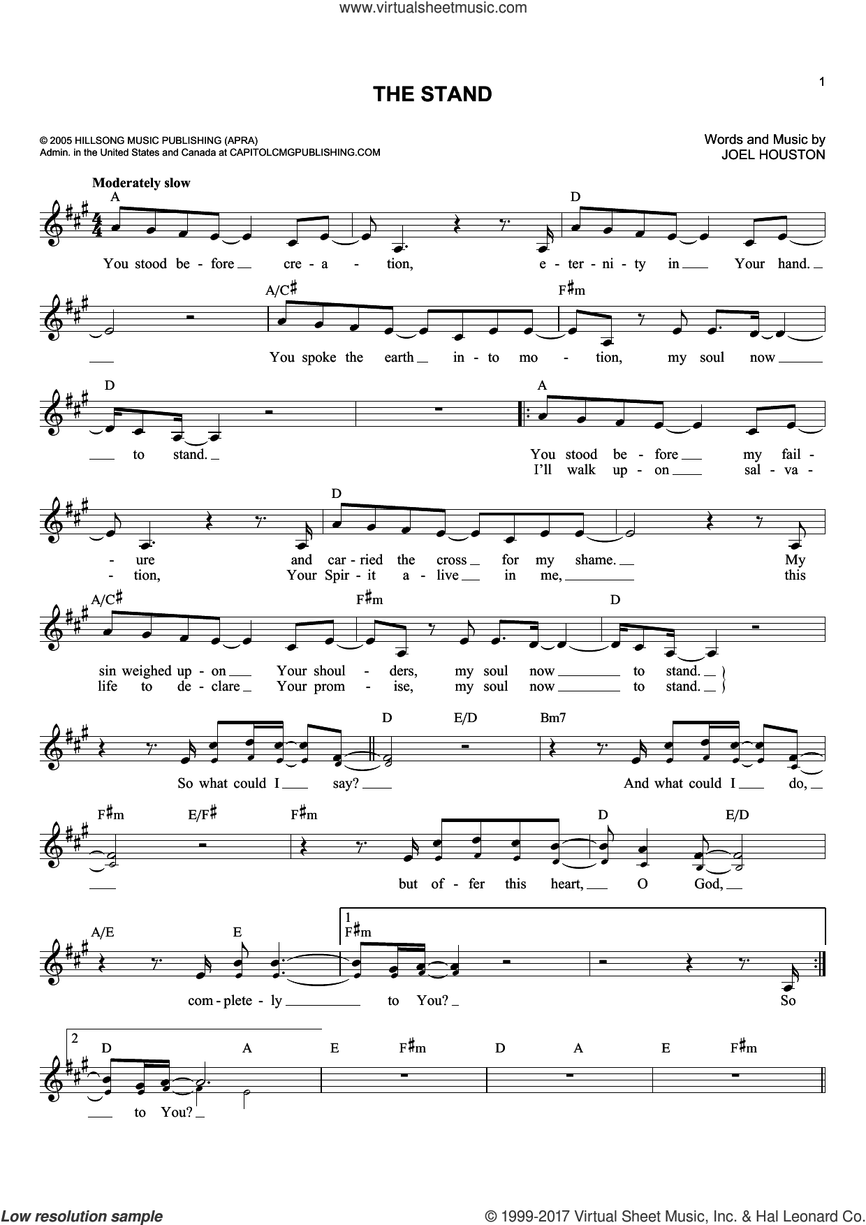 The Stand sheet music for voice and other instruments (fake book) by Joel Houston, intermediate skill level
