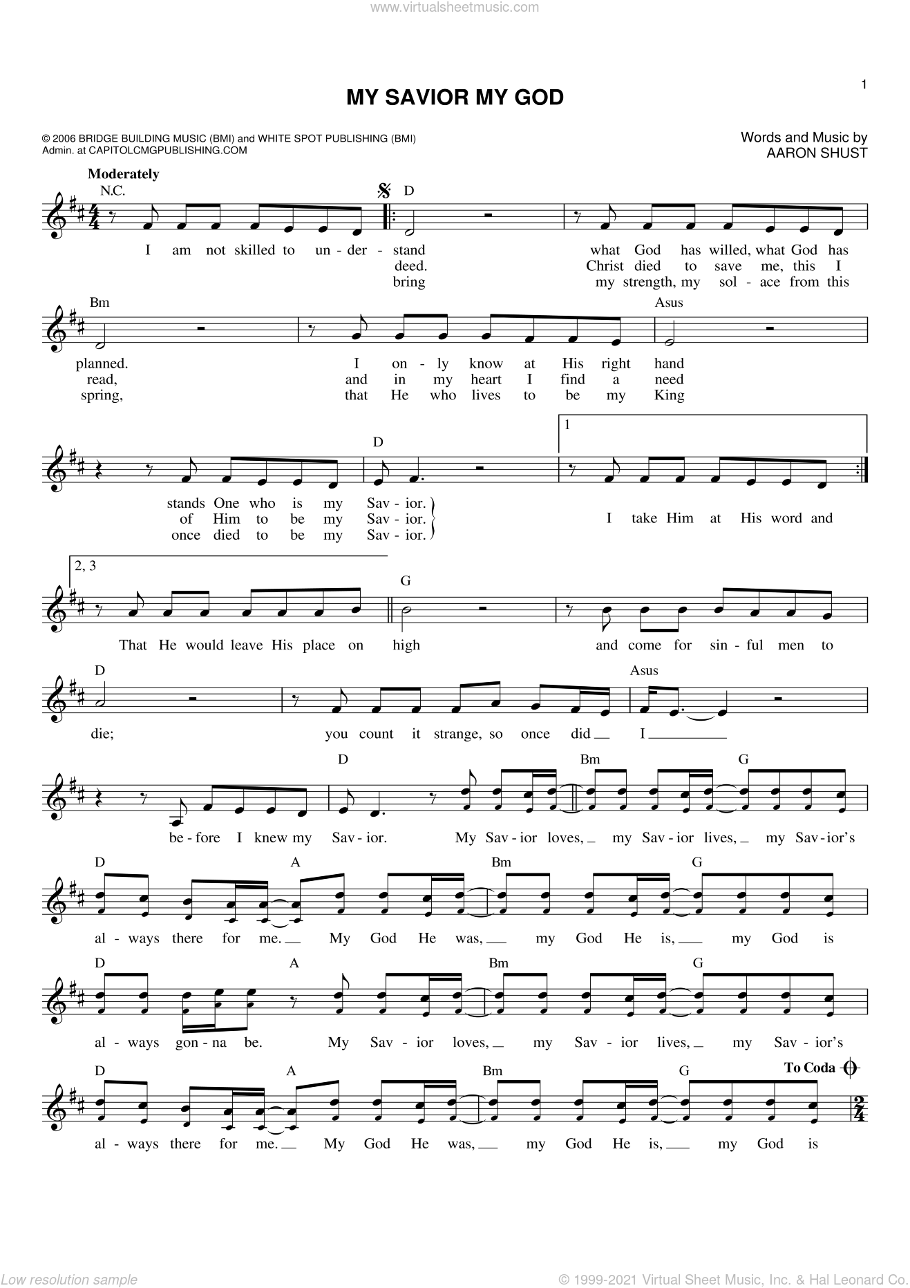 My Savior My God sheet music for voice and other instruments (fake book) by Aaron Shust, intermediate skill level