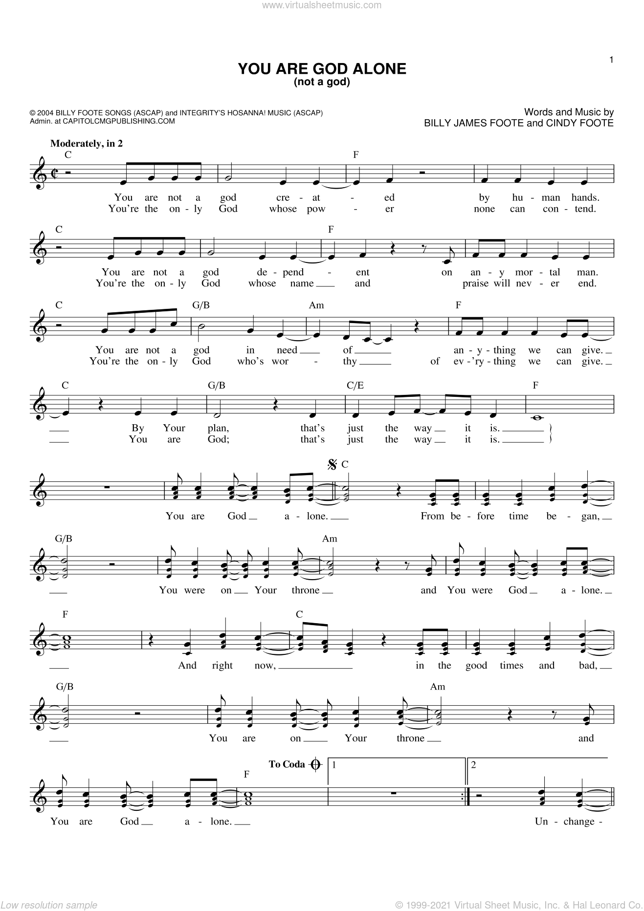 You Are God Alone (Not A God) sheet music for voice and other instruments (fake book) by Phillips, Craig & Dean, Billy James Foote and Cindy Foote, intermediate skill level