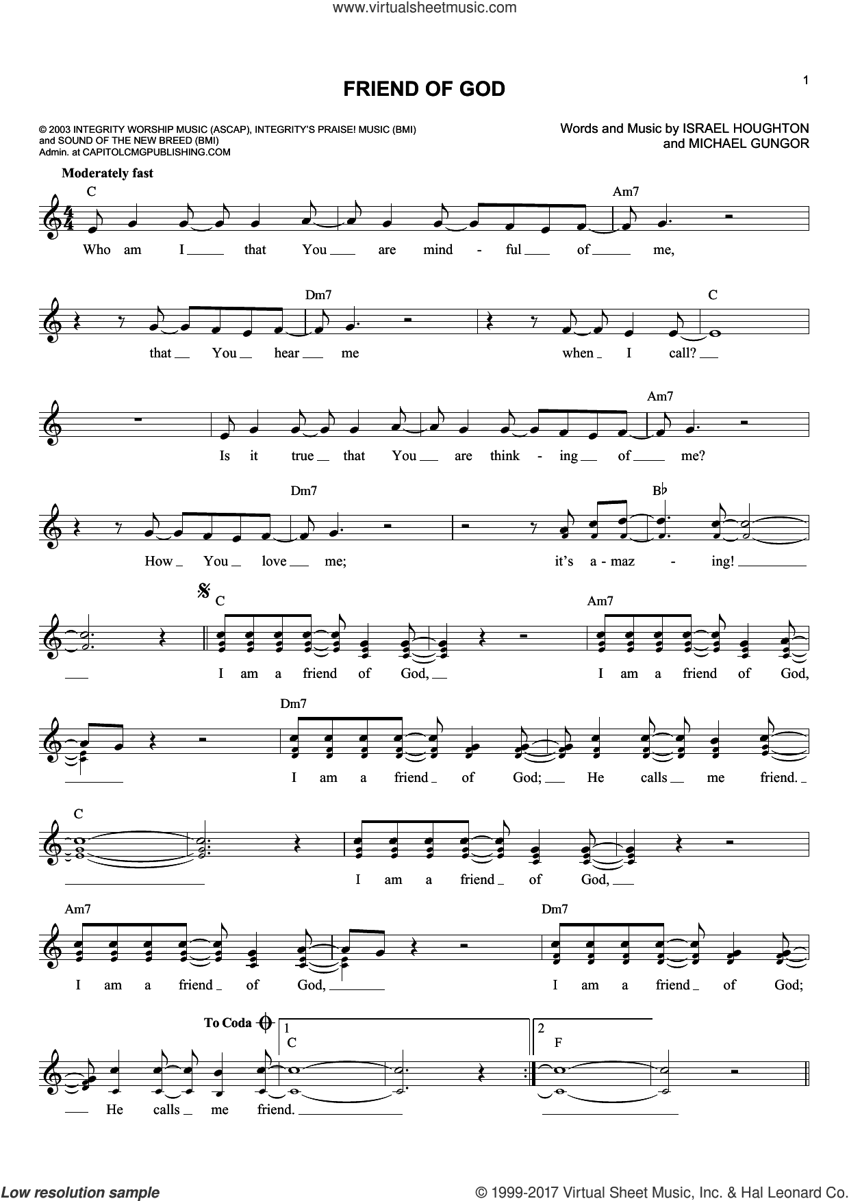 Friend Of God sheet music for voice and other instruments (fake book) by Michael Gungor and Israel Houghton, intermediate skill level