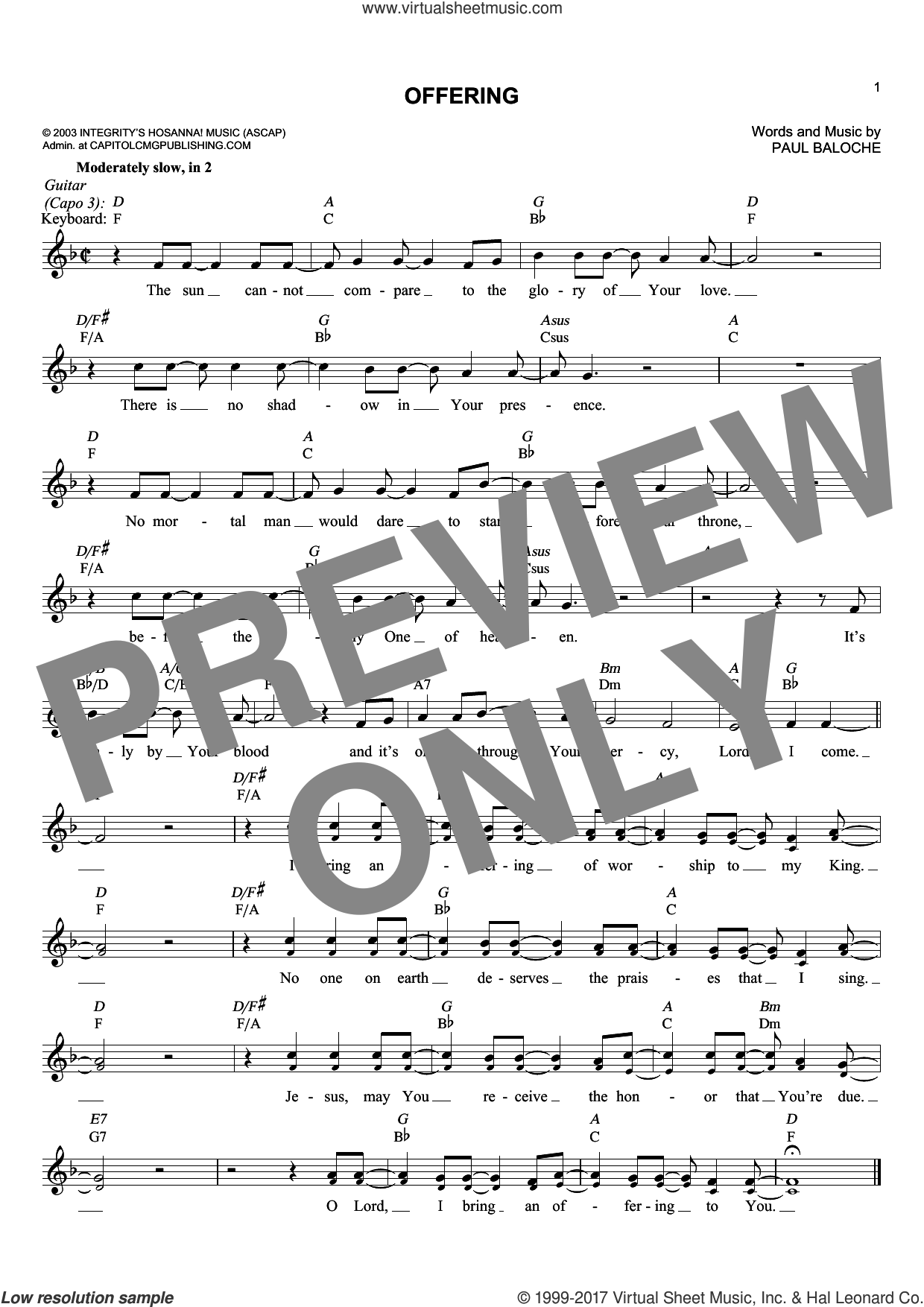 Offering sheet music for voice and other instruments (fake book) by Paul Baloche, intermediate voice. Score Image Preview.