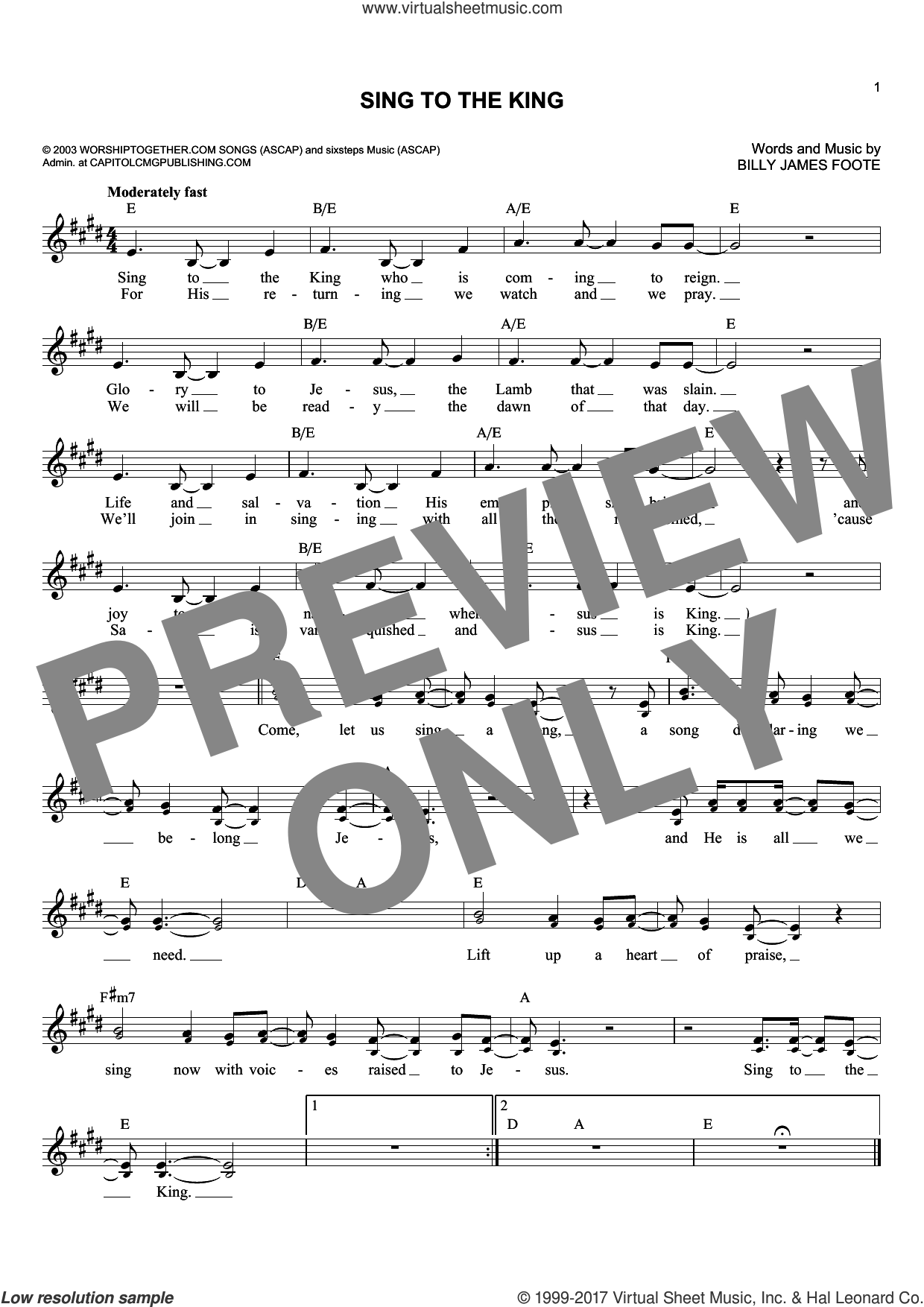 Sing To The King sheet music for voice and other instruments (fake book) by Billy Foote, intermediate. Score Image Preview.