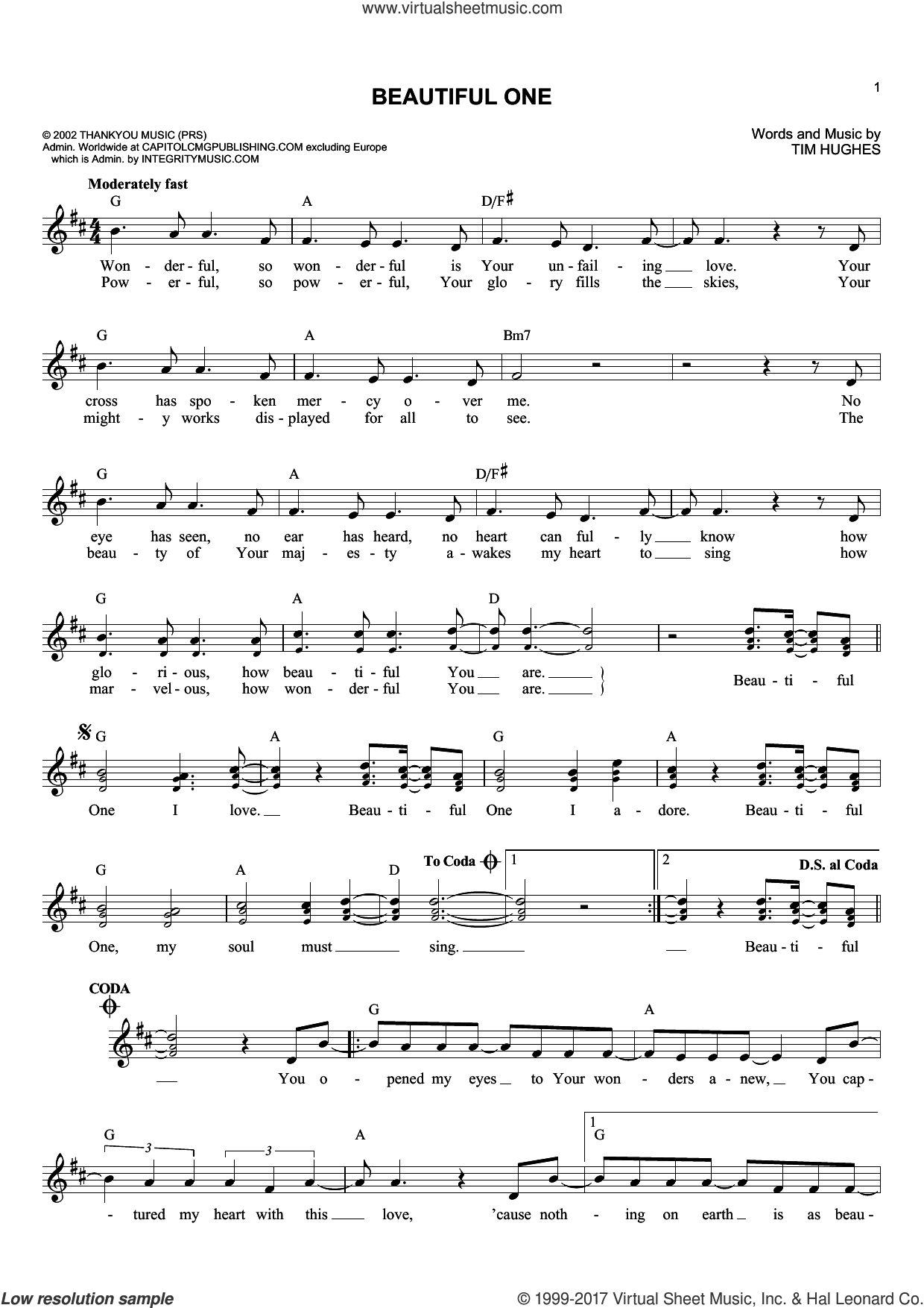 Beautiful One sheet music for voice and other instruments (fake book) by Jeremy Camp and Tim Hughes, intermediate skill level