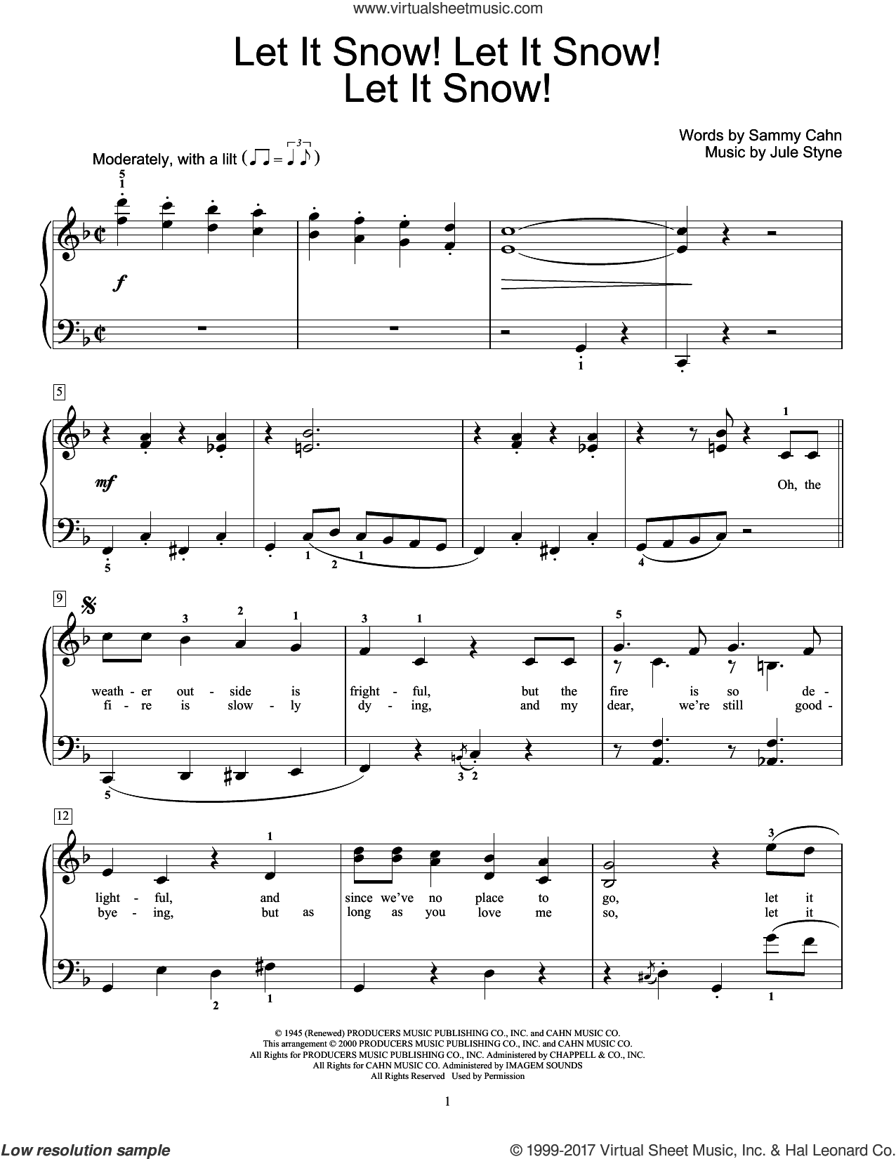 Let It Snow! Let It Snow! Let It Snow! sheet music for piano solo (elementary) by Jule Styne. Score Image Preview.