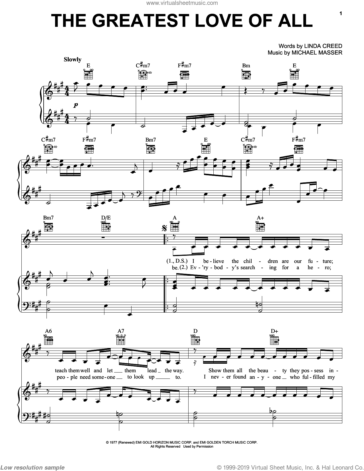 The Greatest Love Of All sheet music for voice, piano or guitar by Michael Masser and Linda Creed. Score Image Preview.