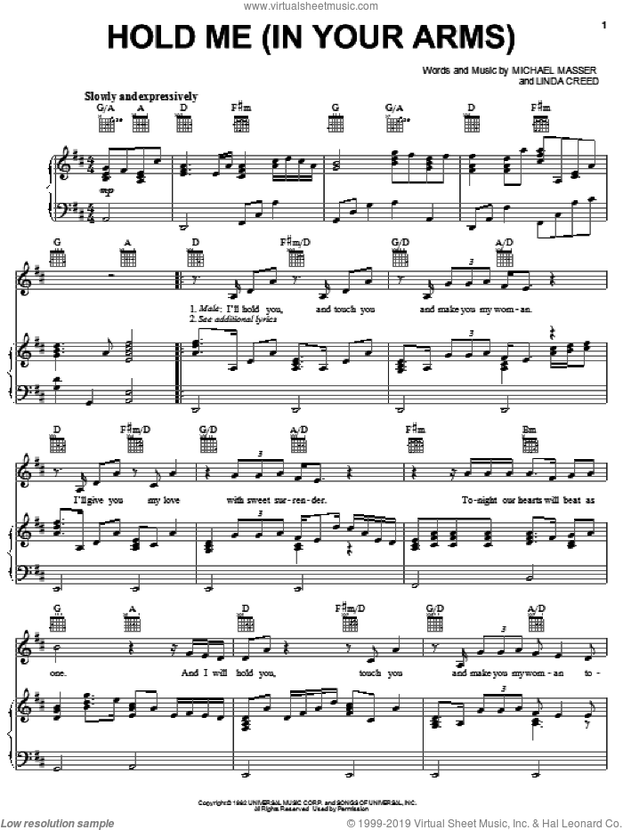 Hold Me (In Your Arms) sheet music for voice, piano or guitar by Michael Masser and Linda Creed, intermediate skill level