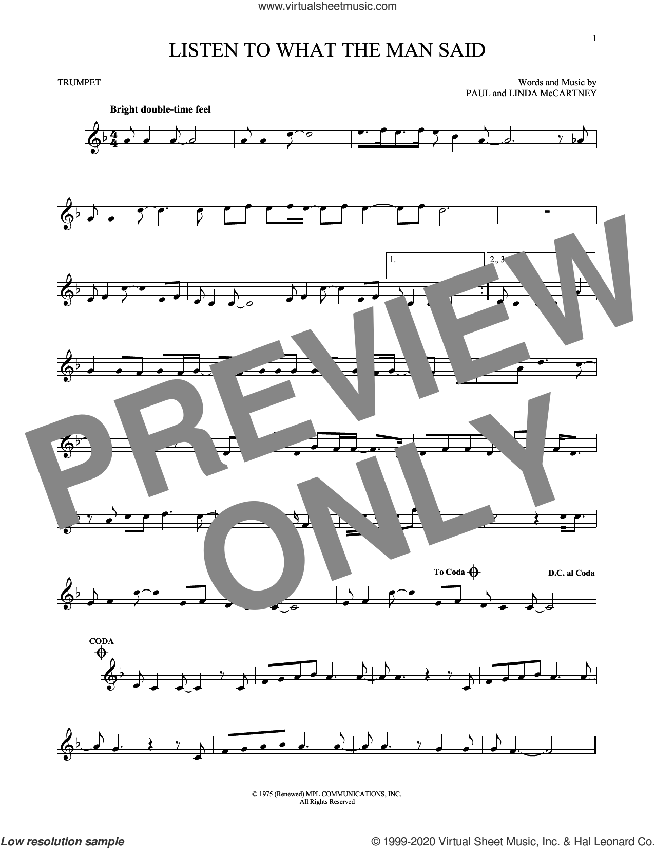 Listen To What The Man Said sheet music for trumpet solo by Wings, Linda McCartney and Paul McCartney, intermediate skill level